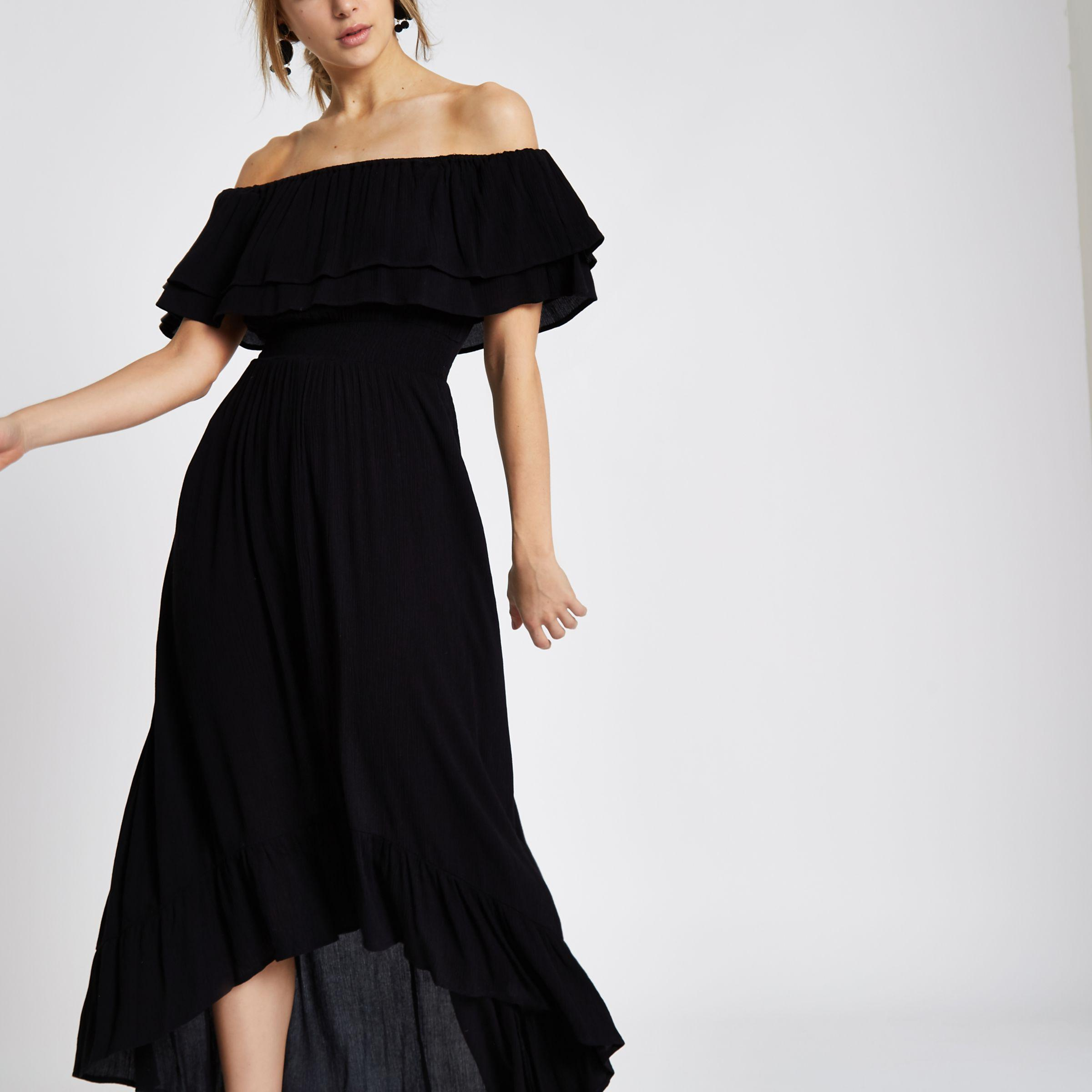 arriving separation shoes cheap prices River Island Synthetic Black Frill Bardot High Low Maxi Dress - Lyst