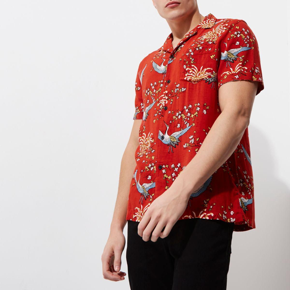 6fc32a55d6a River Island Red Oriental Print Revere Collar Shirt in Red for Men ...