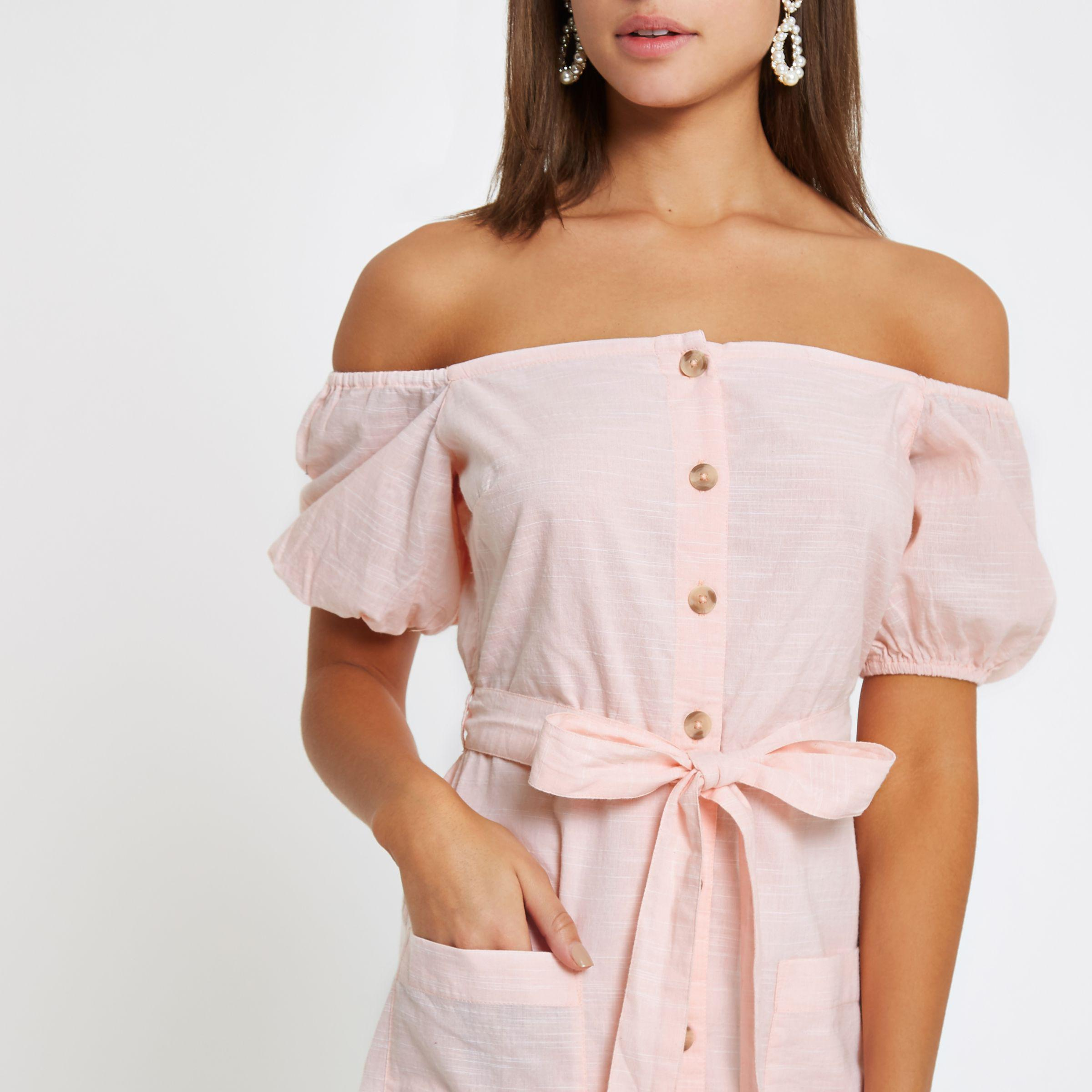 98c47c43f4122 River Island Light Pink Button Up Bardot Dress in Pink - Lyst