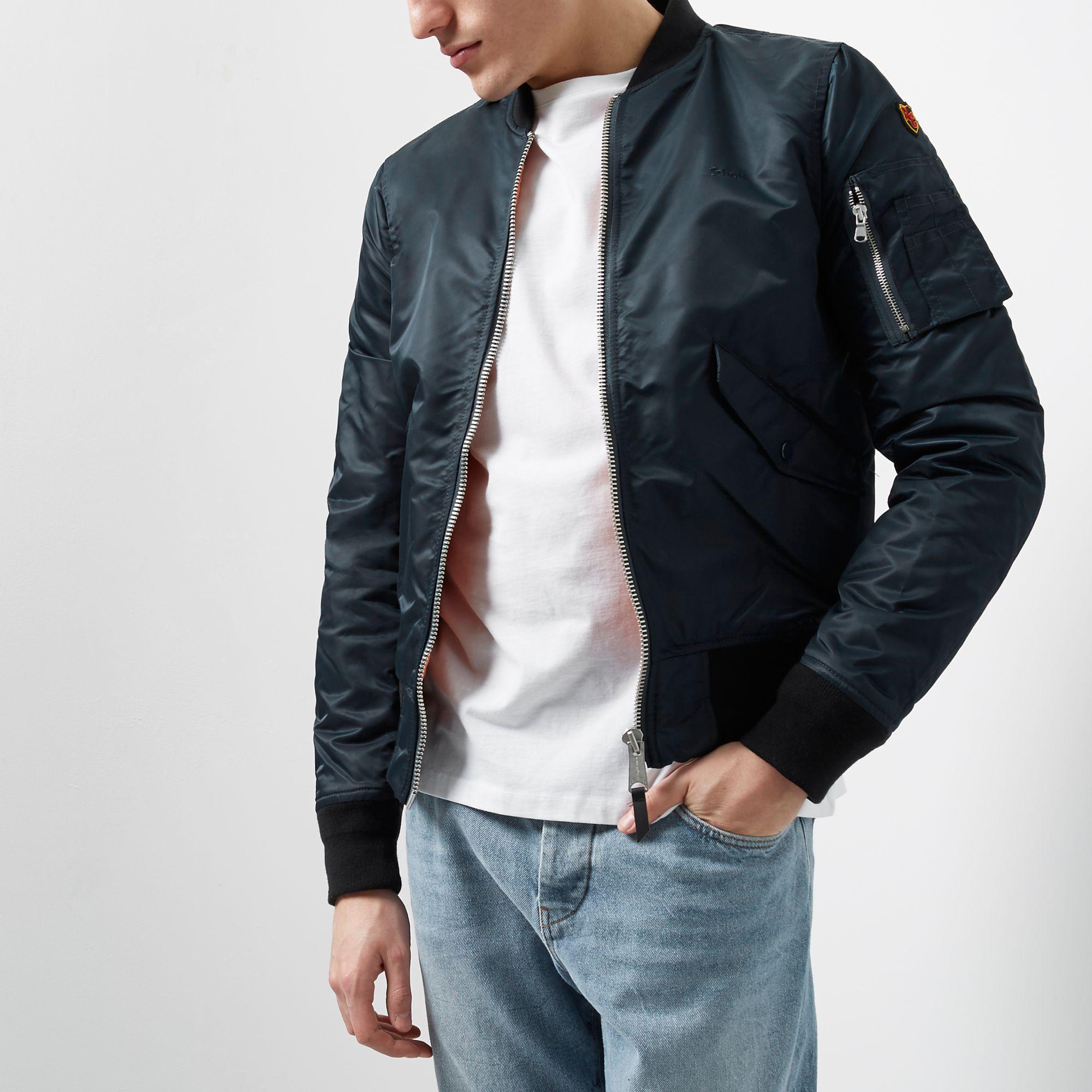 Schott Nyc Cotton Bomber Jacket in Navy (Blue) for Men