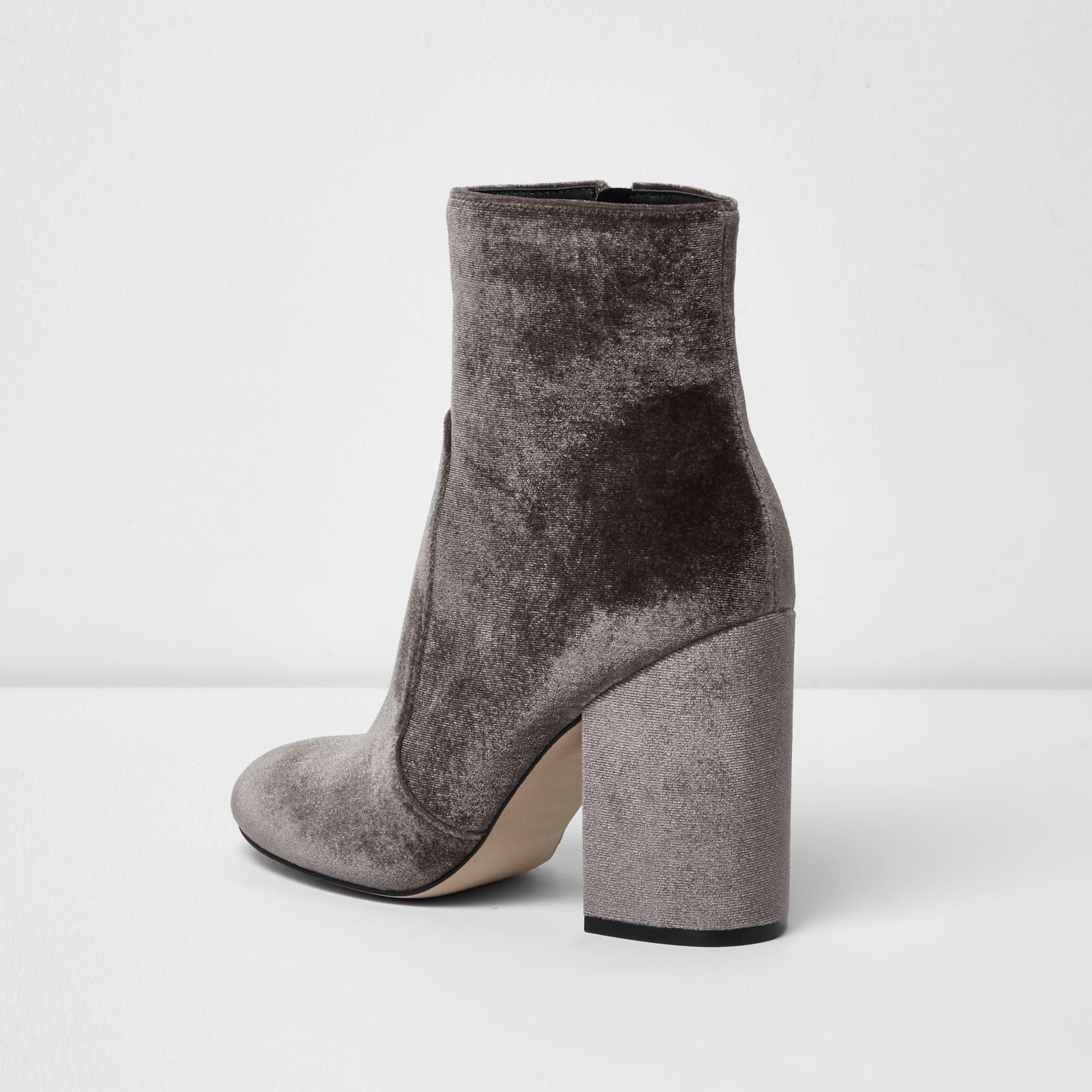 Lyst River Island Mink Velvet Block Heel Sock Boots In Pink