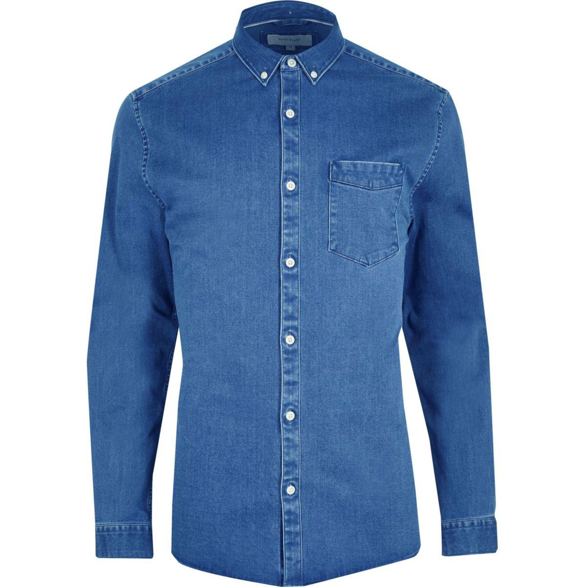 Lyst River Island Big And Tall Blue Button Down Denim