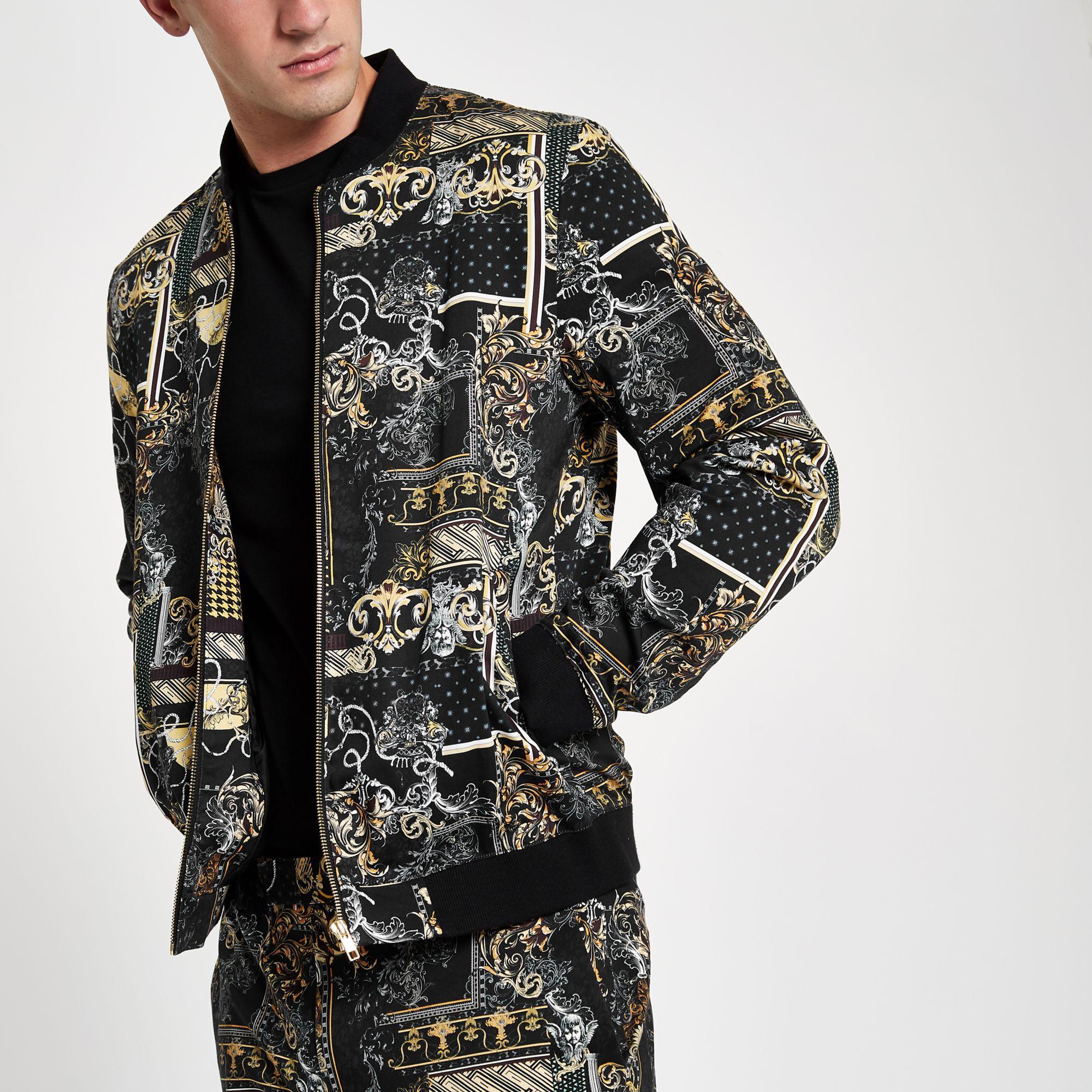 220005186 River Island Black Baroque Print Bomber Jacket for Men - Lyst