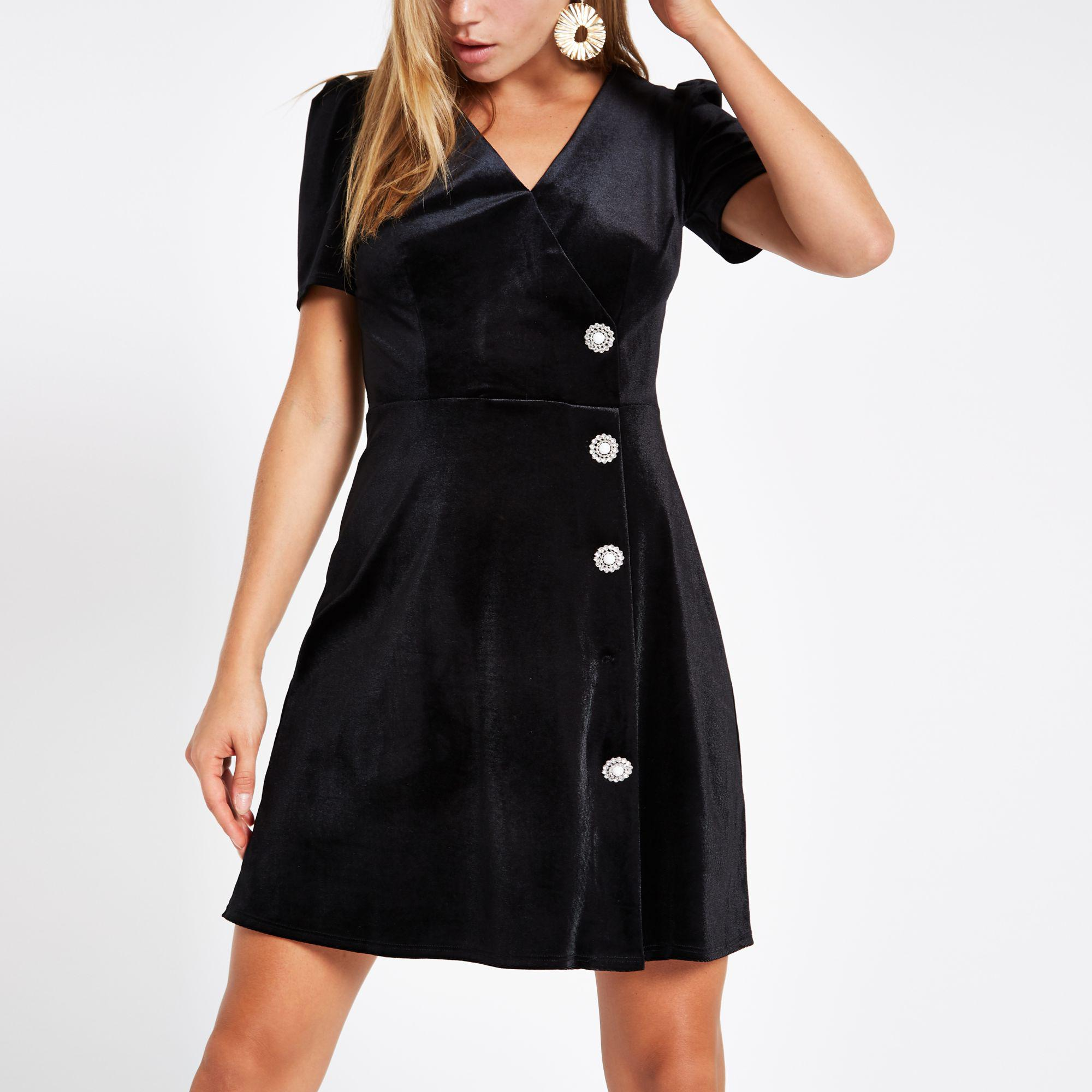 c030724533 River Island Black Velvet Embellished Button Mini Dress in Black - Lyst