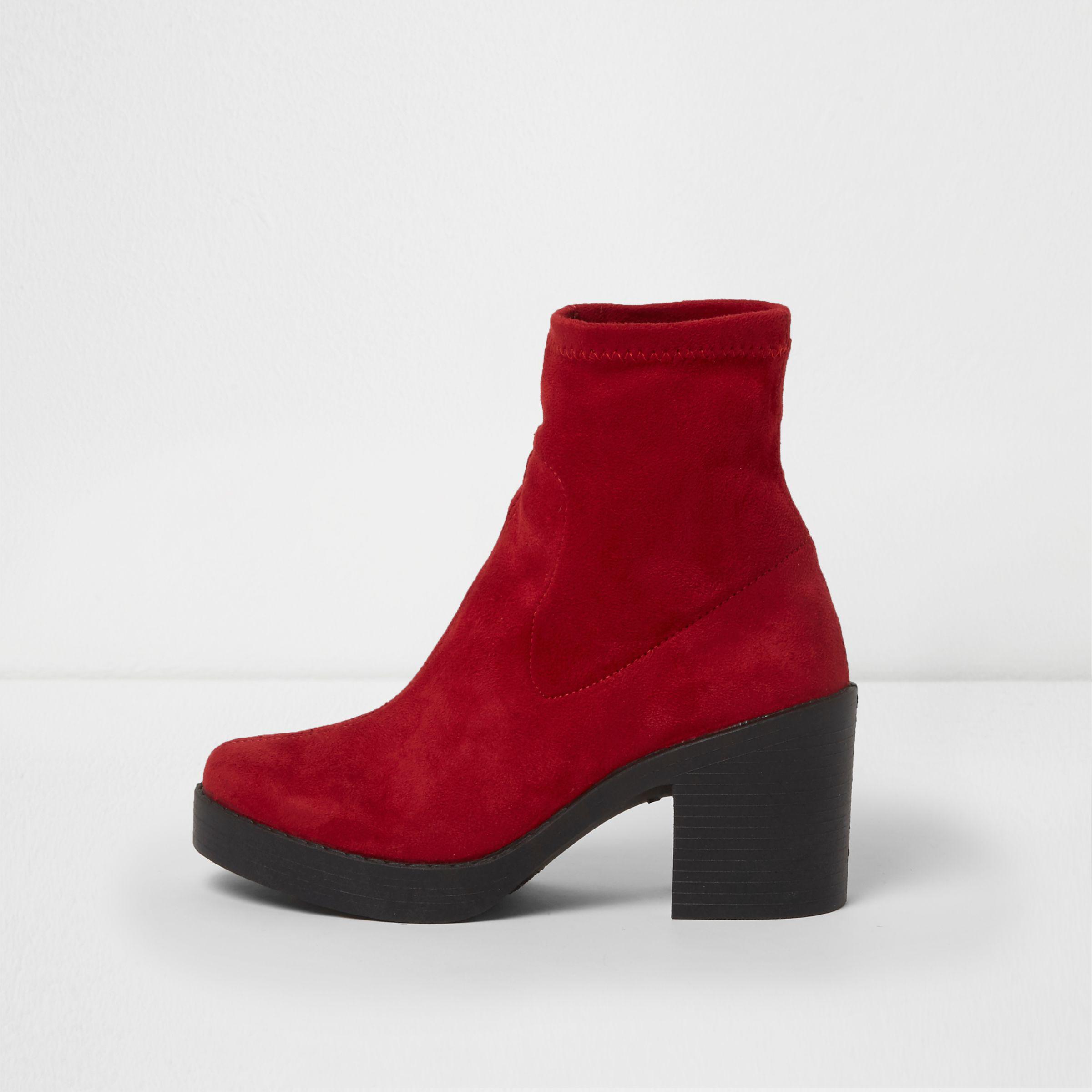df133f06ccd River Island Red Chunky Block Heel Sock Boots