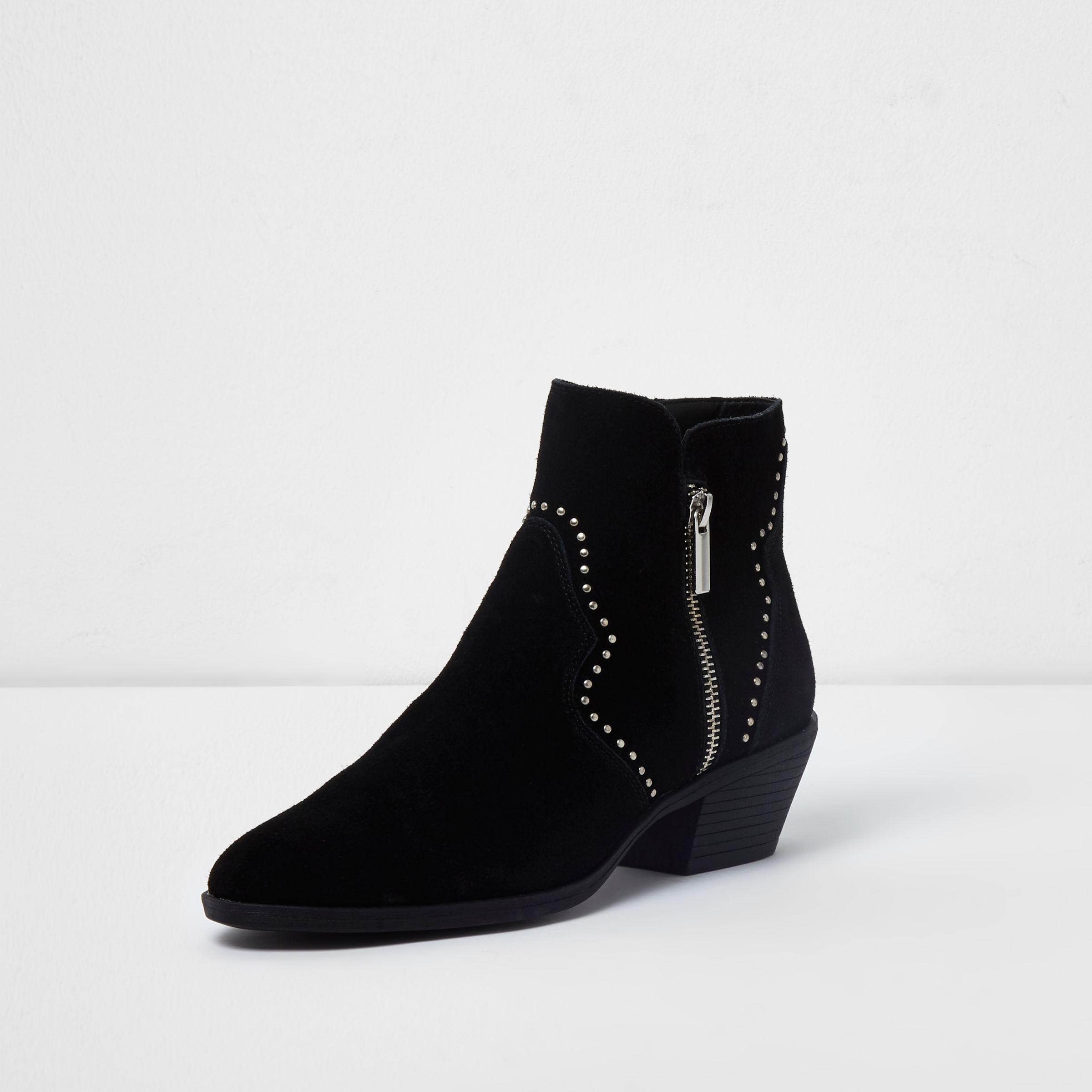 classic style outlet online limited guantity Black Studded Western Suede Ankle Boots