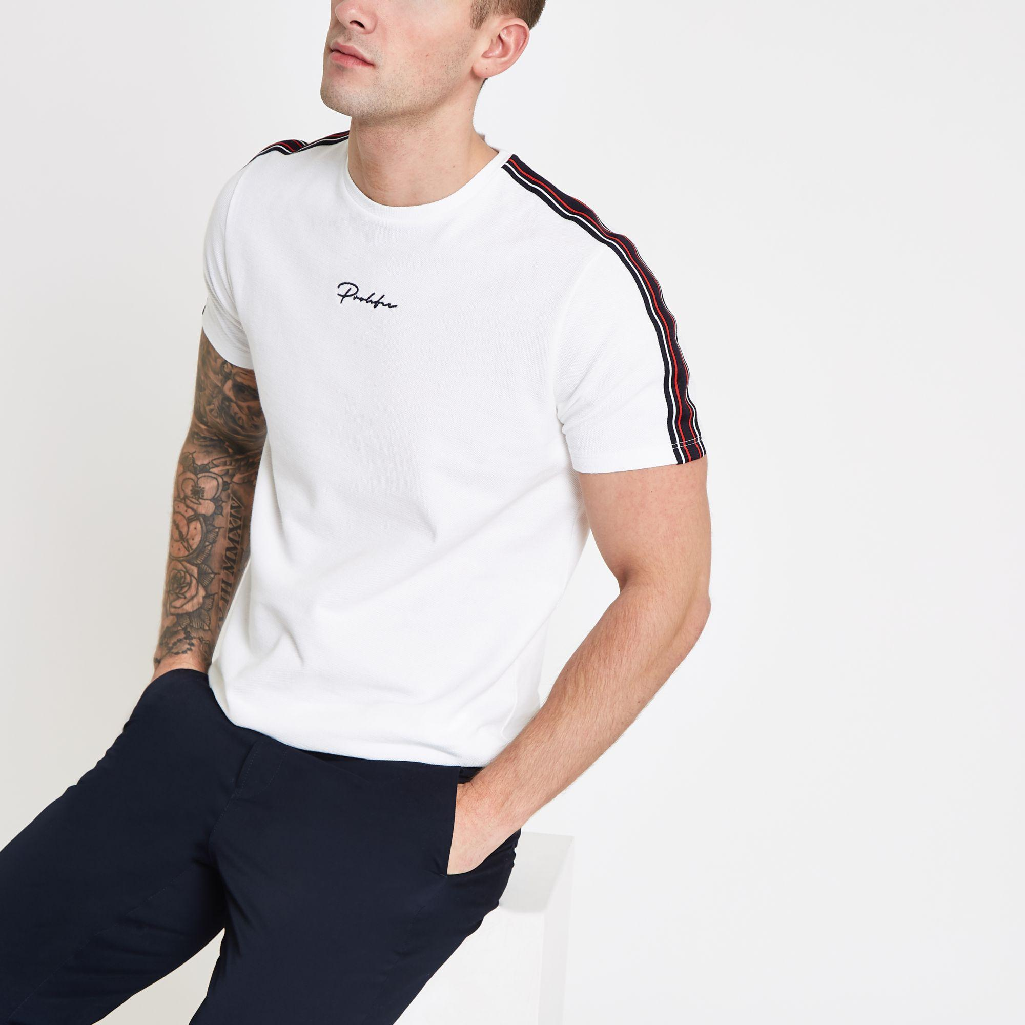0c419381 River Island 'prolific' Taped T-shirt in White for Men - Lyst