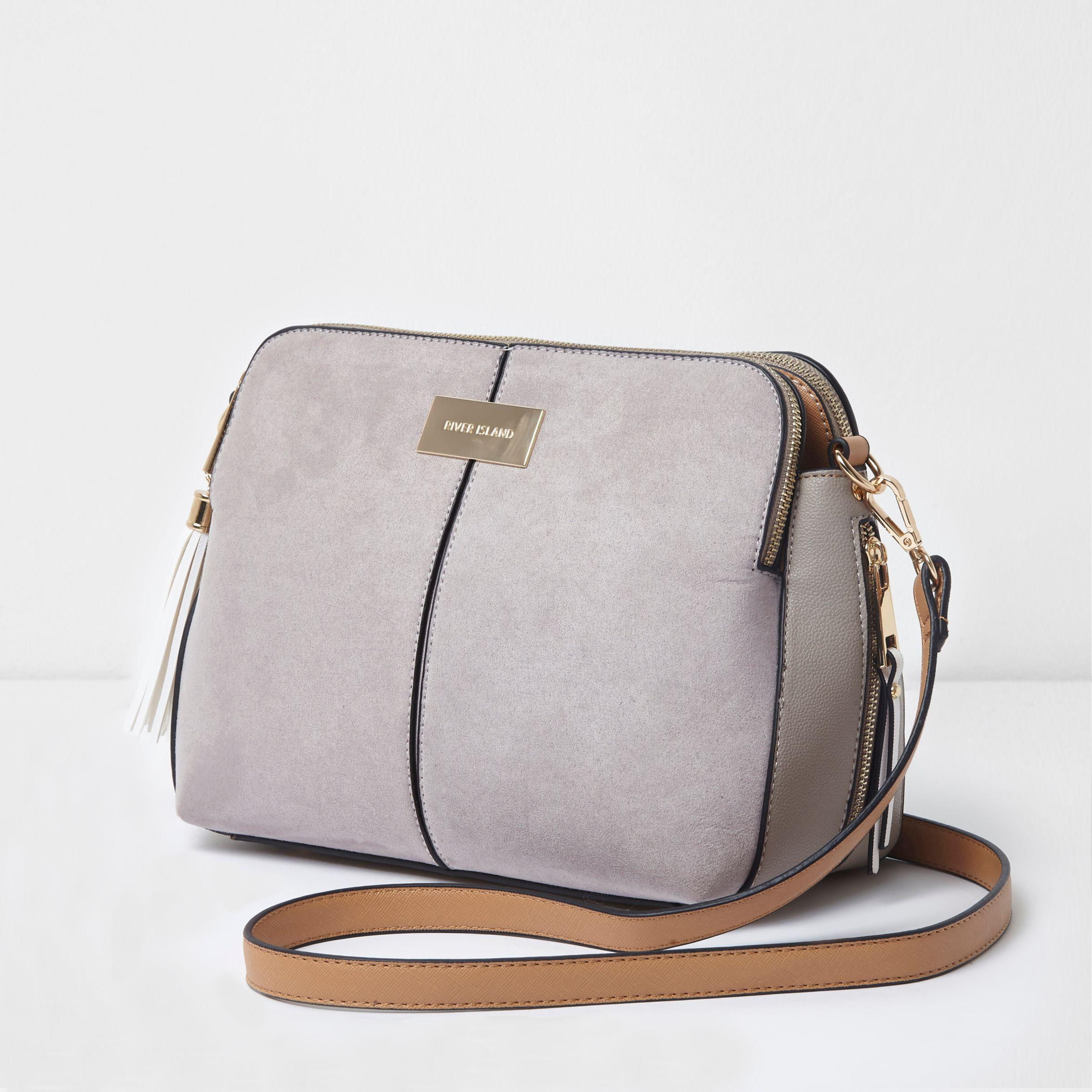 River Island Synthetic Light Grey Triple Compartment Cross Body Bag in Grey