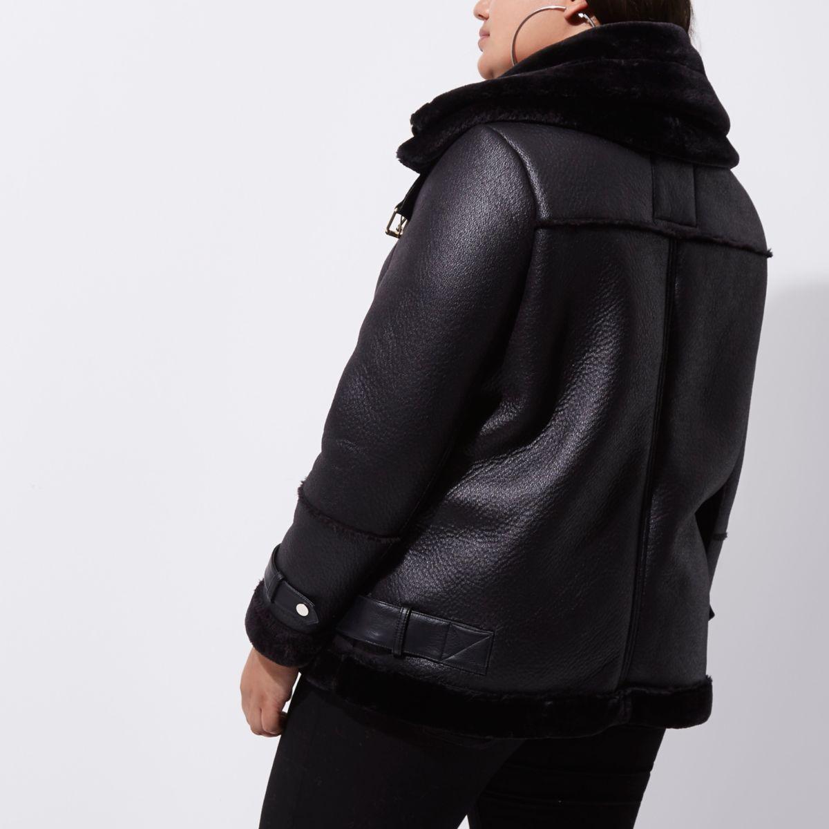 River Island Black Leather Hooded Jacket