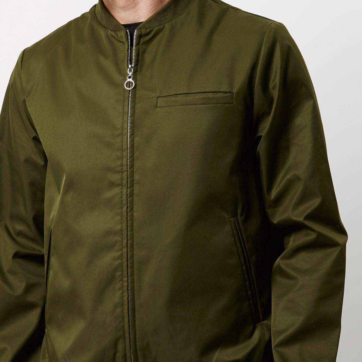 River Island Cotton Khaki Green Bellfield Shine Bomber Jacket for Men
