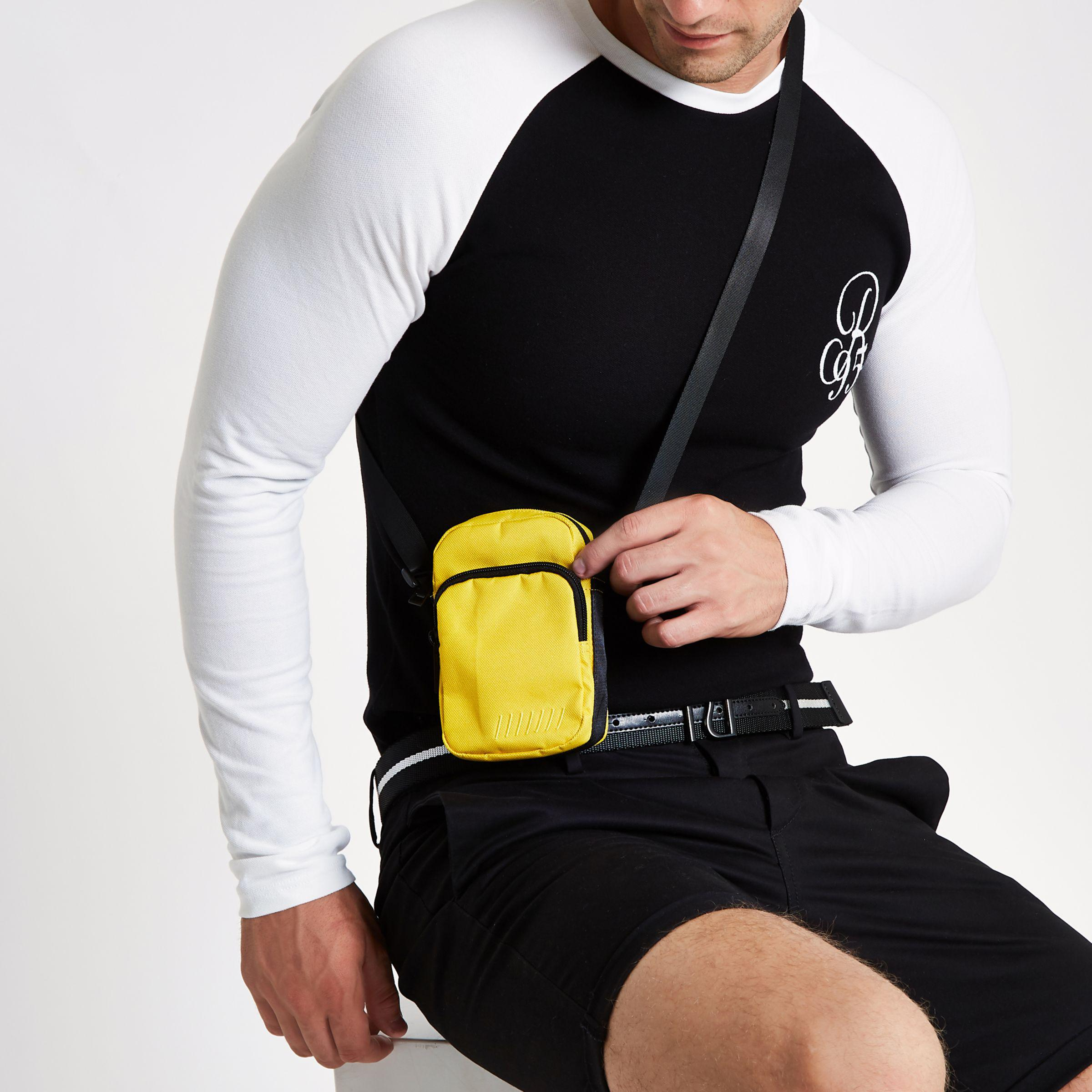 River Island Synthetic Yellow Mini Cross Body Flight Pouch for Men