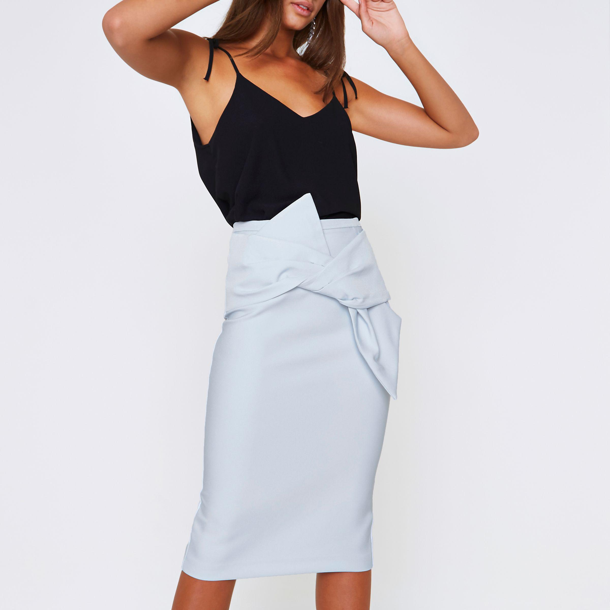 Lyst - River Island Blue Bow Front Pencil Skirt in Blue a93e1a8dac0