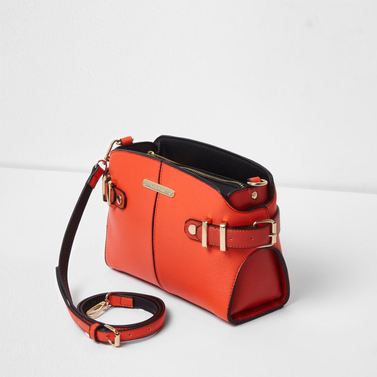 lyst river island bright orange tab buckle side cross body bag bright orange tab buckle side. Black Bedroom Furniture Sets. Home Design Ideas