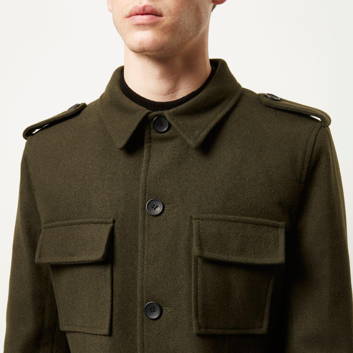Lyst River Island Green Smart Wool Blend Military Jacket
