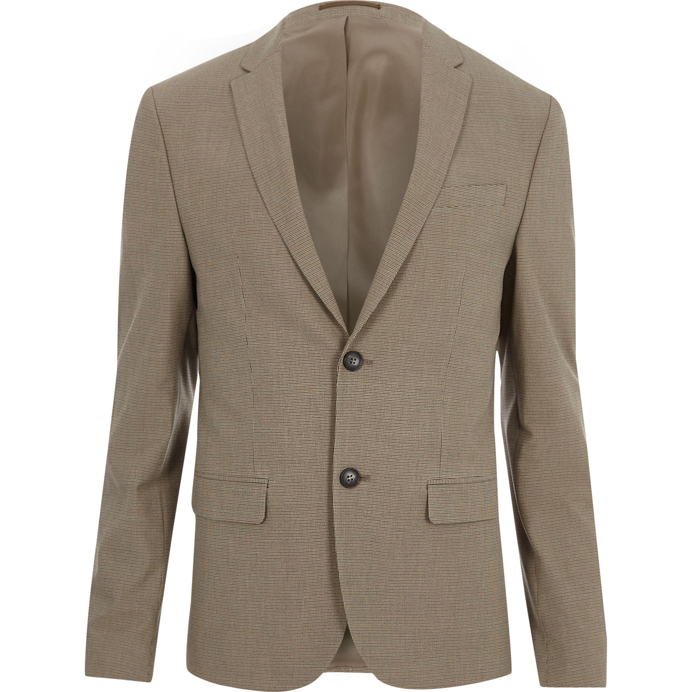 River Island Synthetic Ecru Pupstooth Super Skinny Fit Suit Jacket for Men