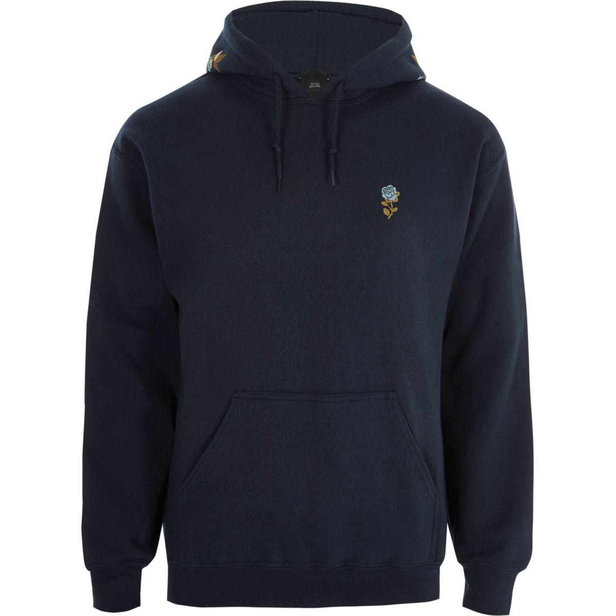 Lyst River Island Navy Floral Embroidered Hoodie Navy