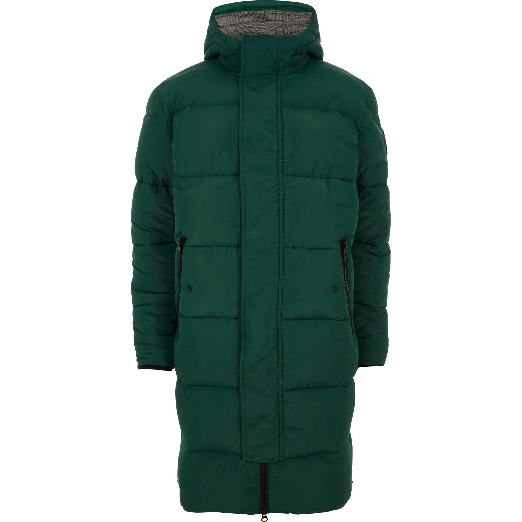 River Island Synthetic Dark Longline Hooded Puffer Coat In