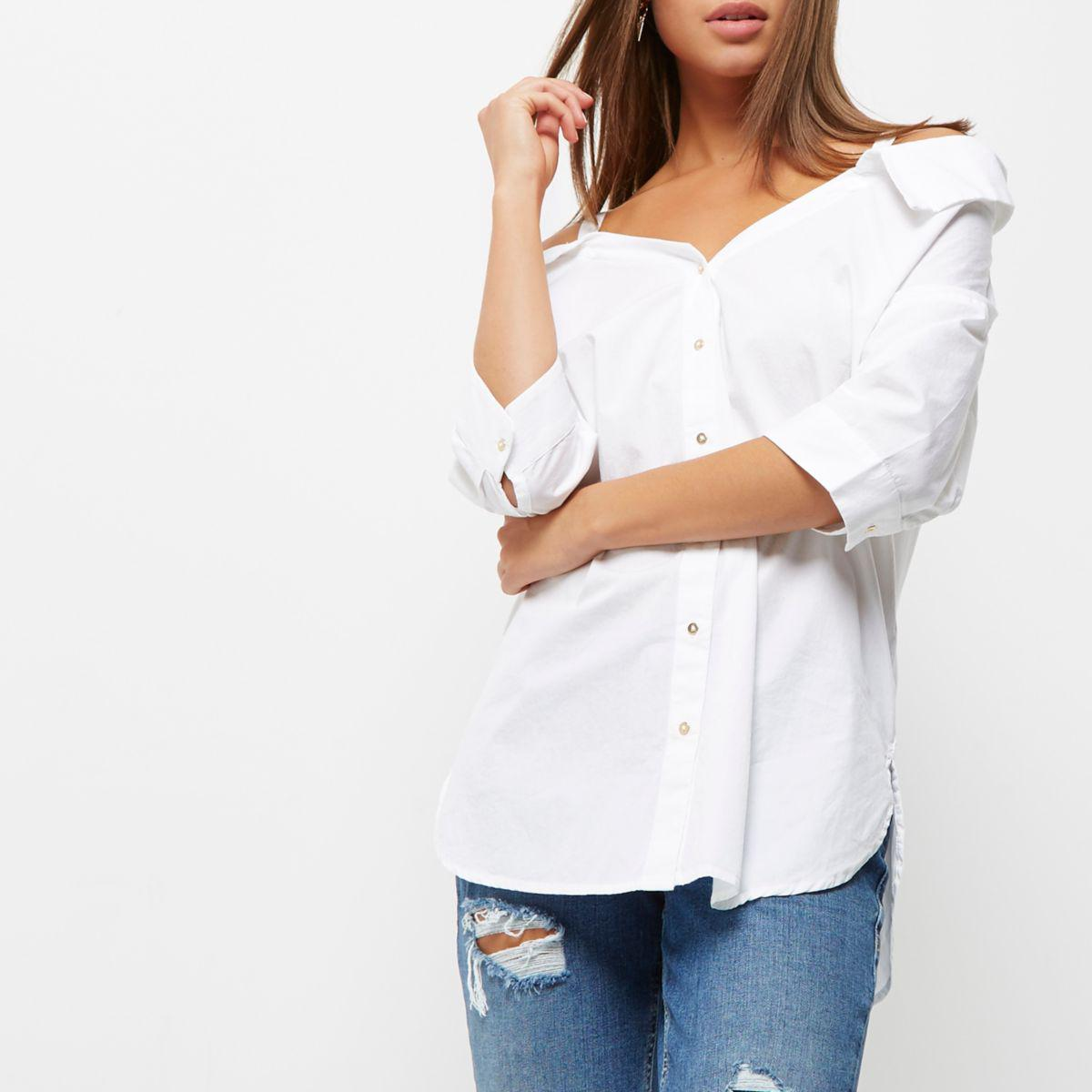 fb1ba75db163b6 River Island White Bardot Off Shoulder Top in White - Lyst