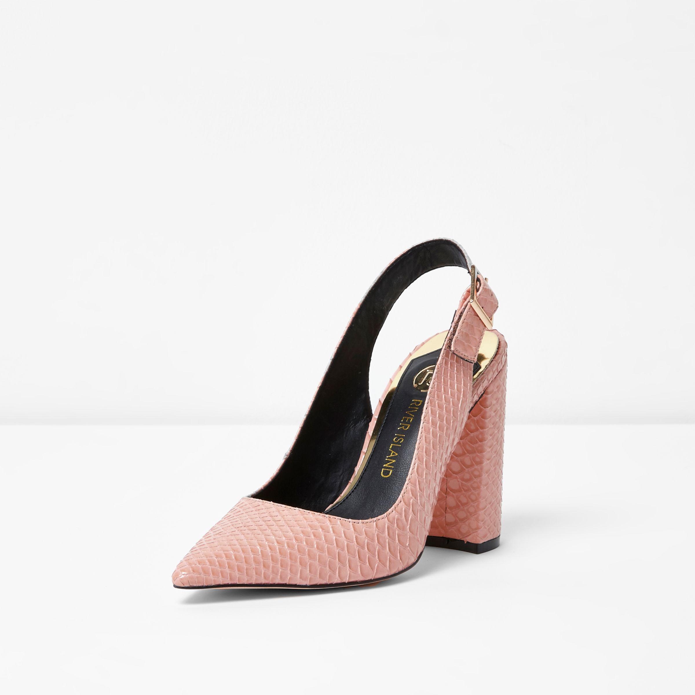 e2bb29f3f9b Women's Pink Snake Slingback Block Heel Court Shoes
