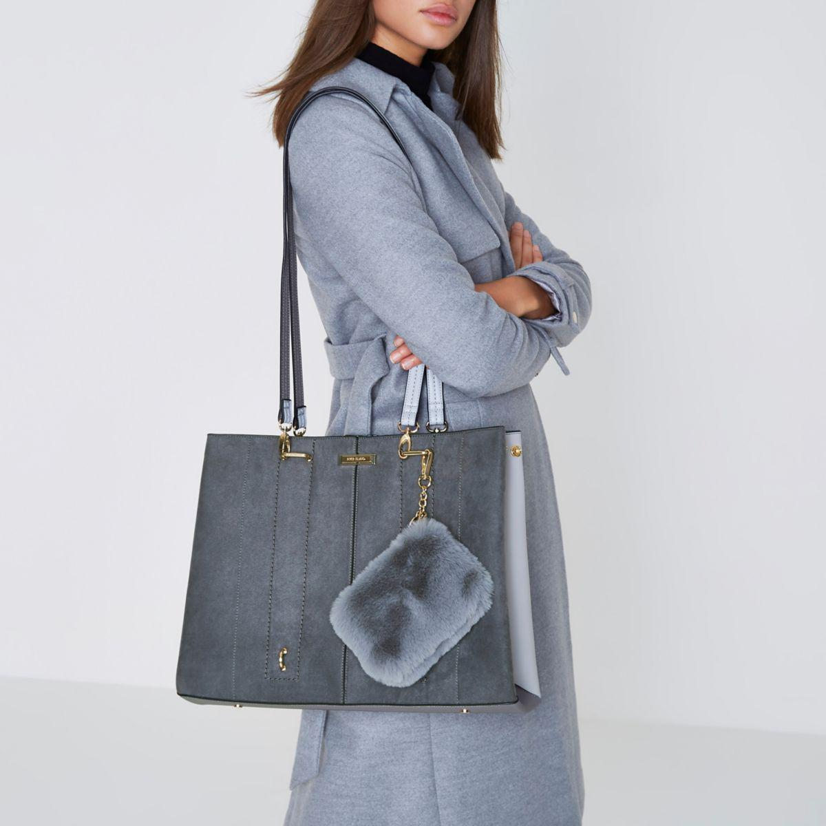River Island Grey Large Tote Bag And Snakeskin Pouchette in Grey