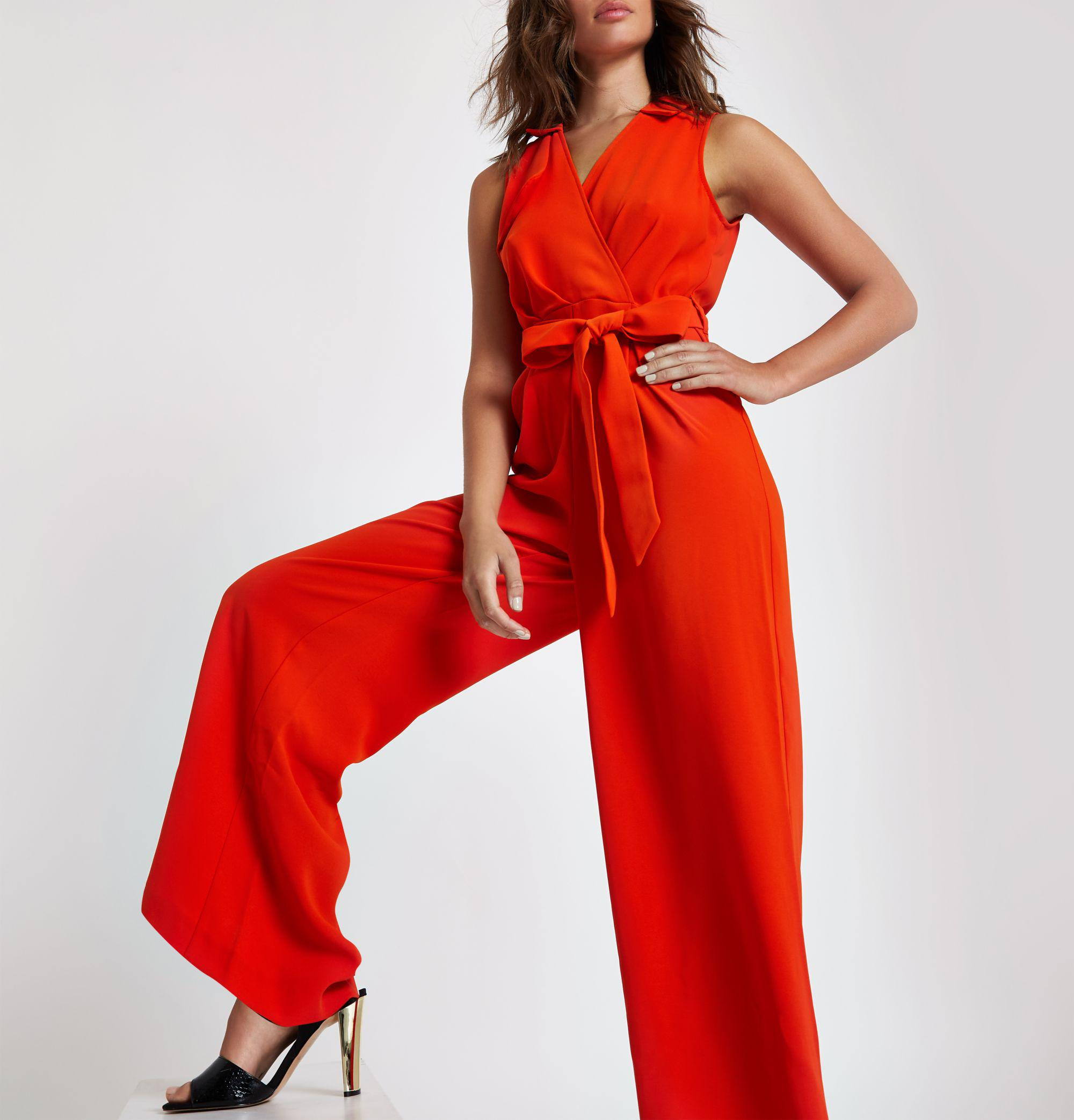 df97c023159 River Island Wrap Tie Front Wide Leg Jumpsuit in Red - Lyst