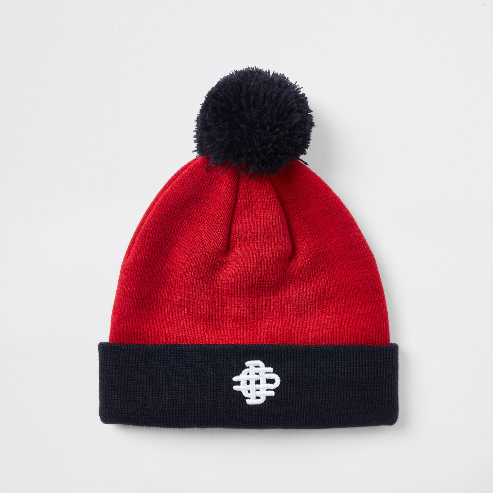 9d034fbba8e River Island Contrast Bobble Beanie Hat in Red for Men - Lyst