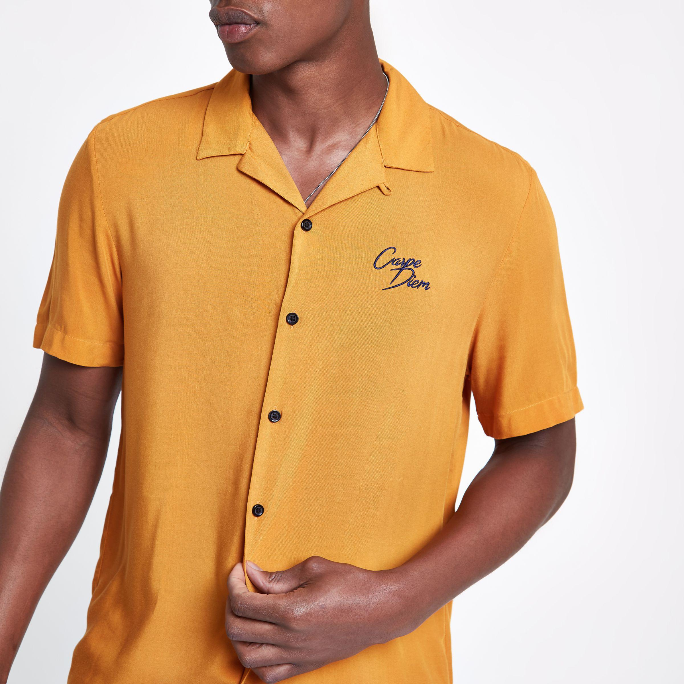 Mens Yellow carpe diem embroidered shirt River Island Buy Online Outlet The Cheapest Clearance Store Sale Online EHZ6d