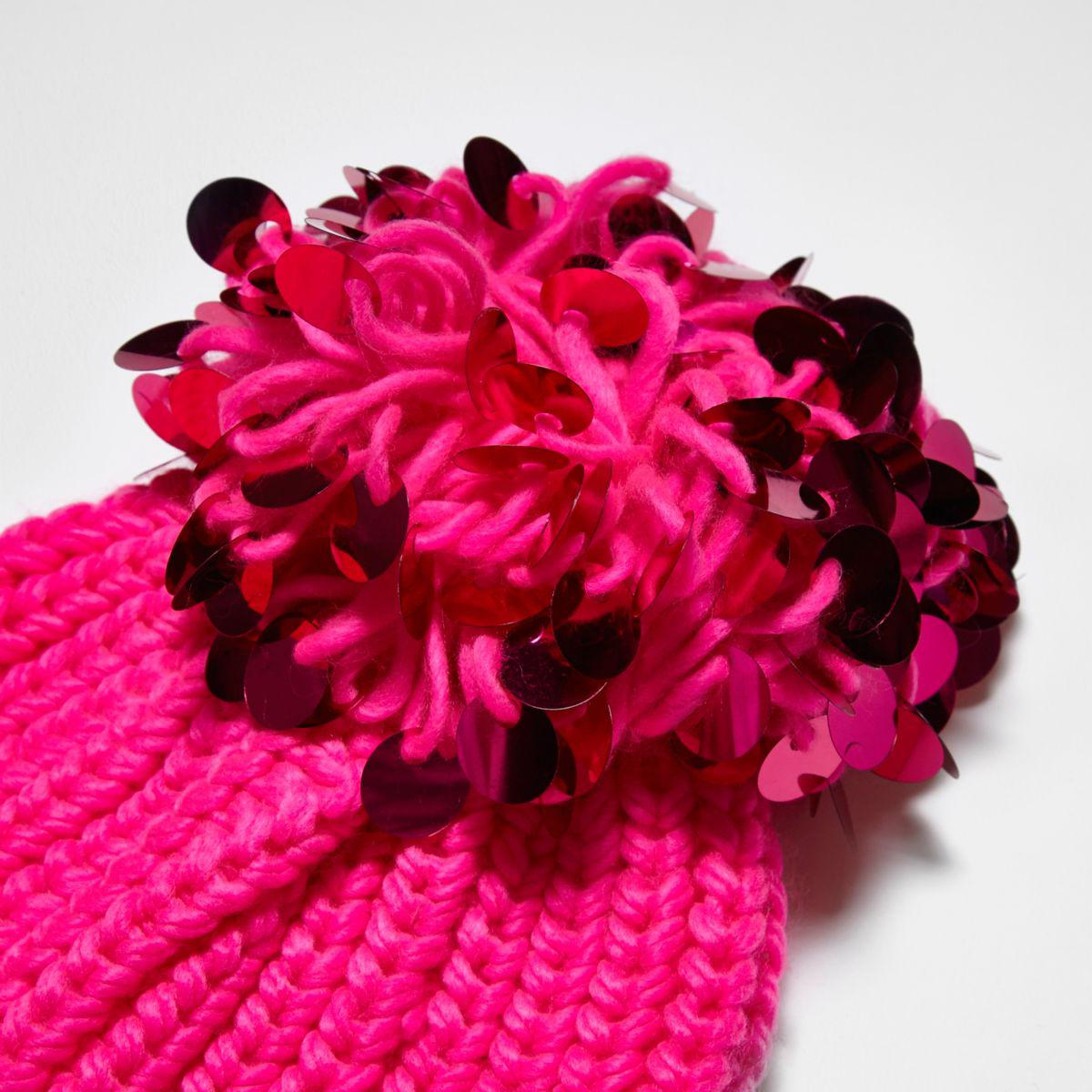 5d2db817138f3 River Island Bright Pink Sequin Pom Pom Beanie Hat in Pink - Lyst