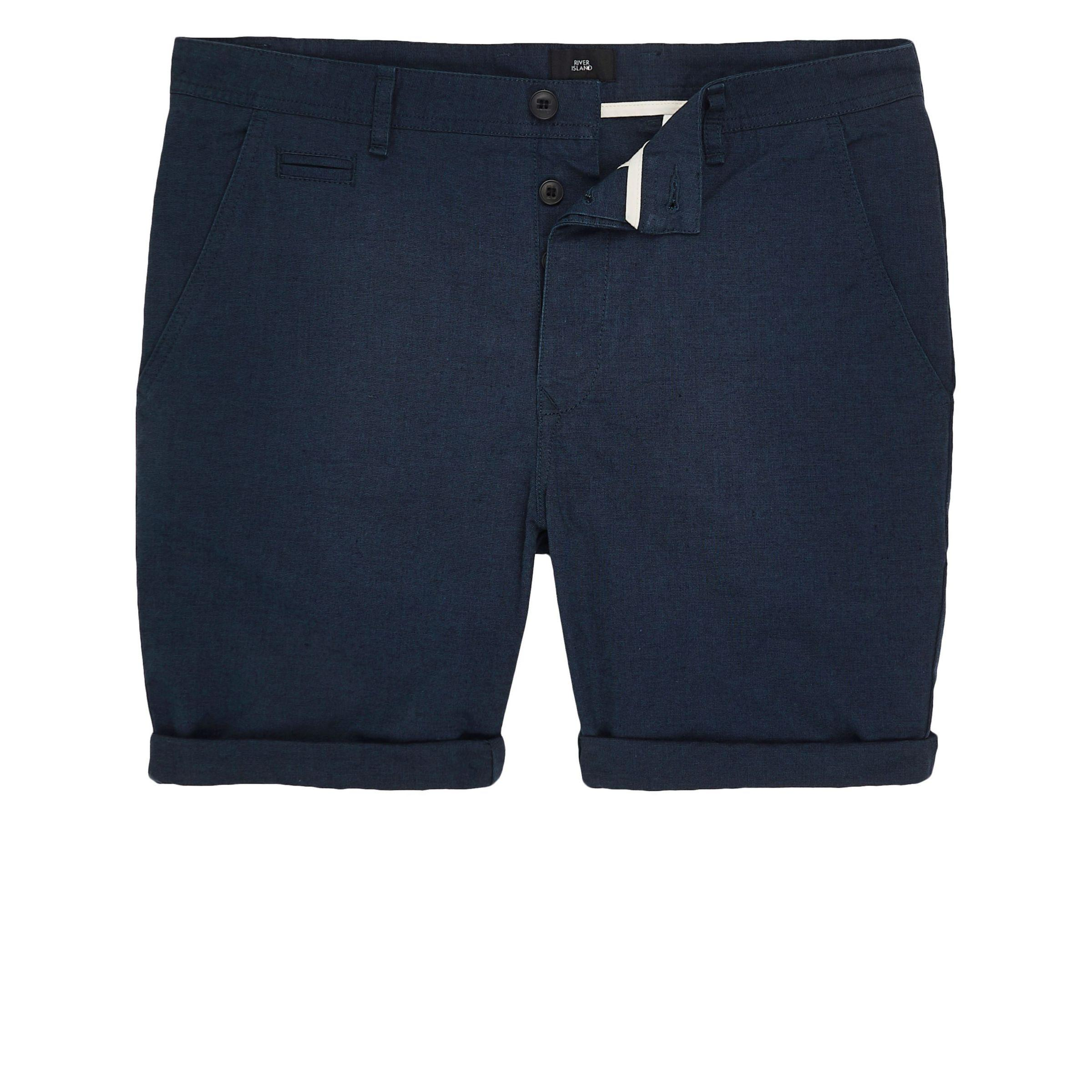 Excellent Popular For Sale Mens Blue slim fit Oxford chino shorts River Island Choice Online For Sale Online Store p16uxb