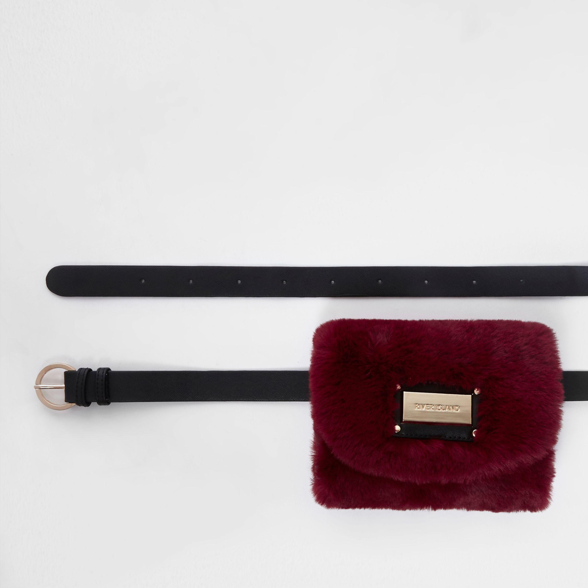 1b1713ea79 River Island Dark Red Faux Fur Buckle Belt Bum Bag in Red - Lyst