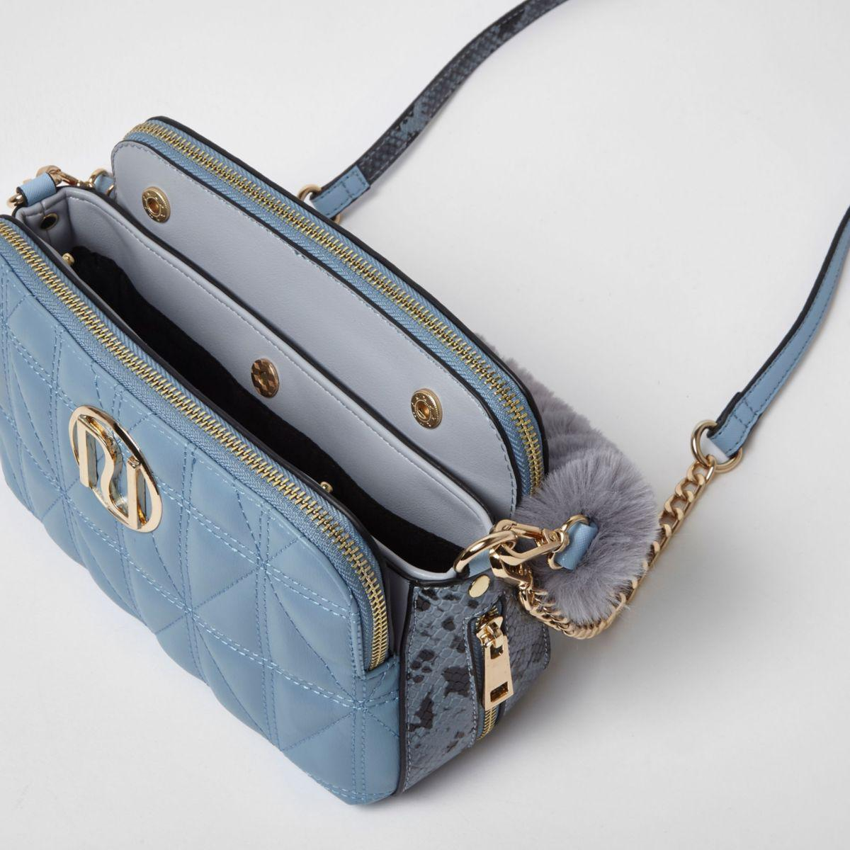 River Island Blue Quilted Faux Fur Handle Crossbody Bag