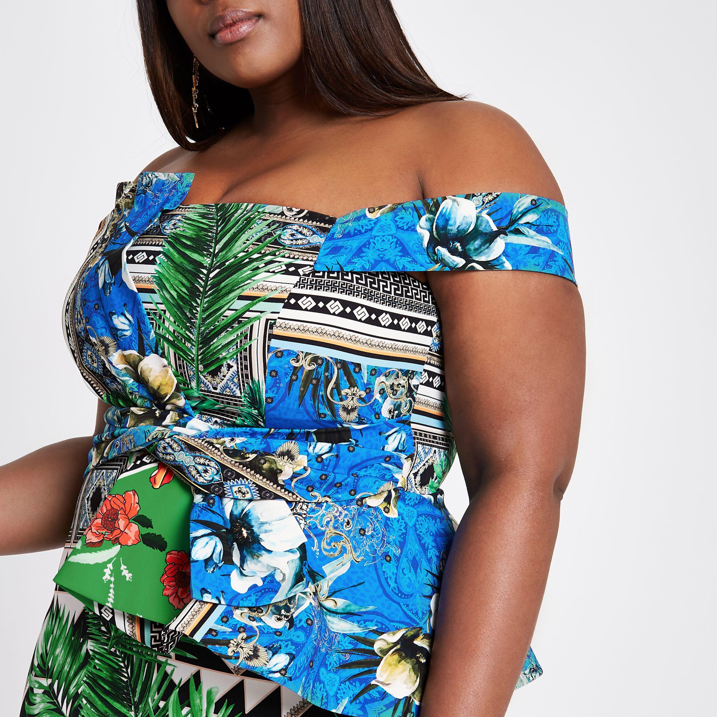 Lyst - River Island Plus Green Scarf Print Bardot Bodycon Dress in Green 2a6709bfd8987