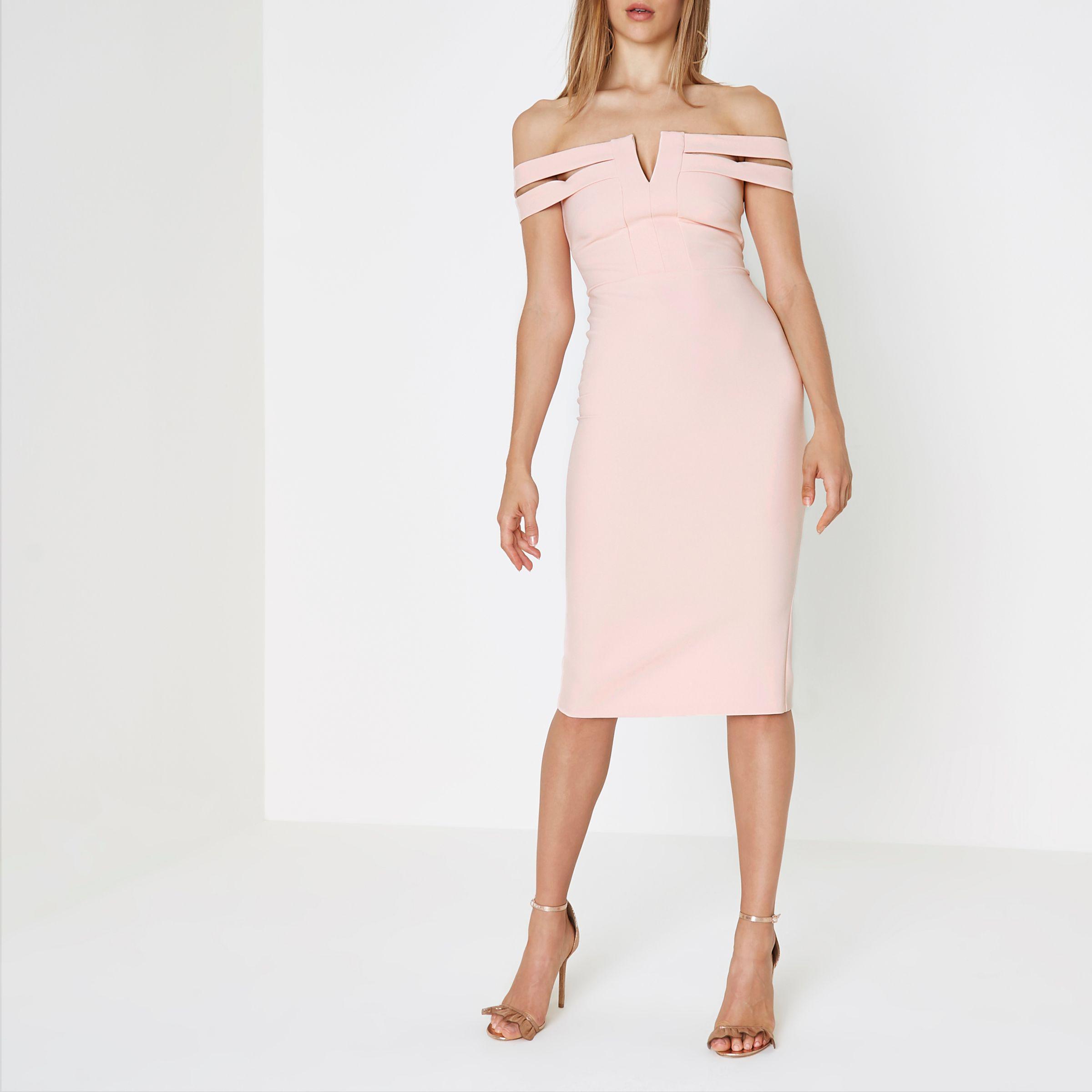 River dress pink bright island bodycon midi truworths