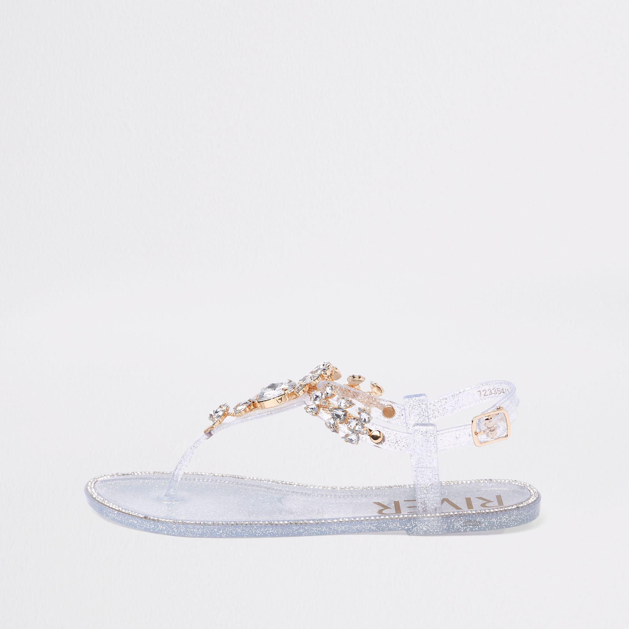 88a7d7a8191 River Island Silver Gem Embellished Jelly Sandals in Metallic - Lyst
