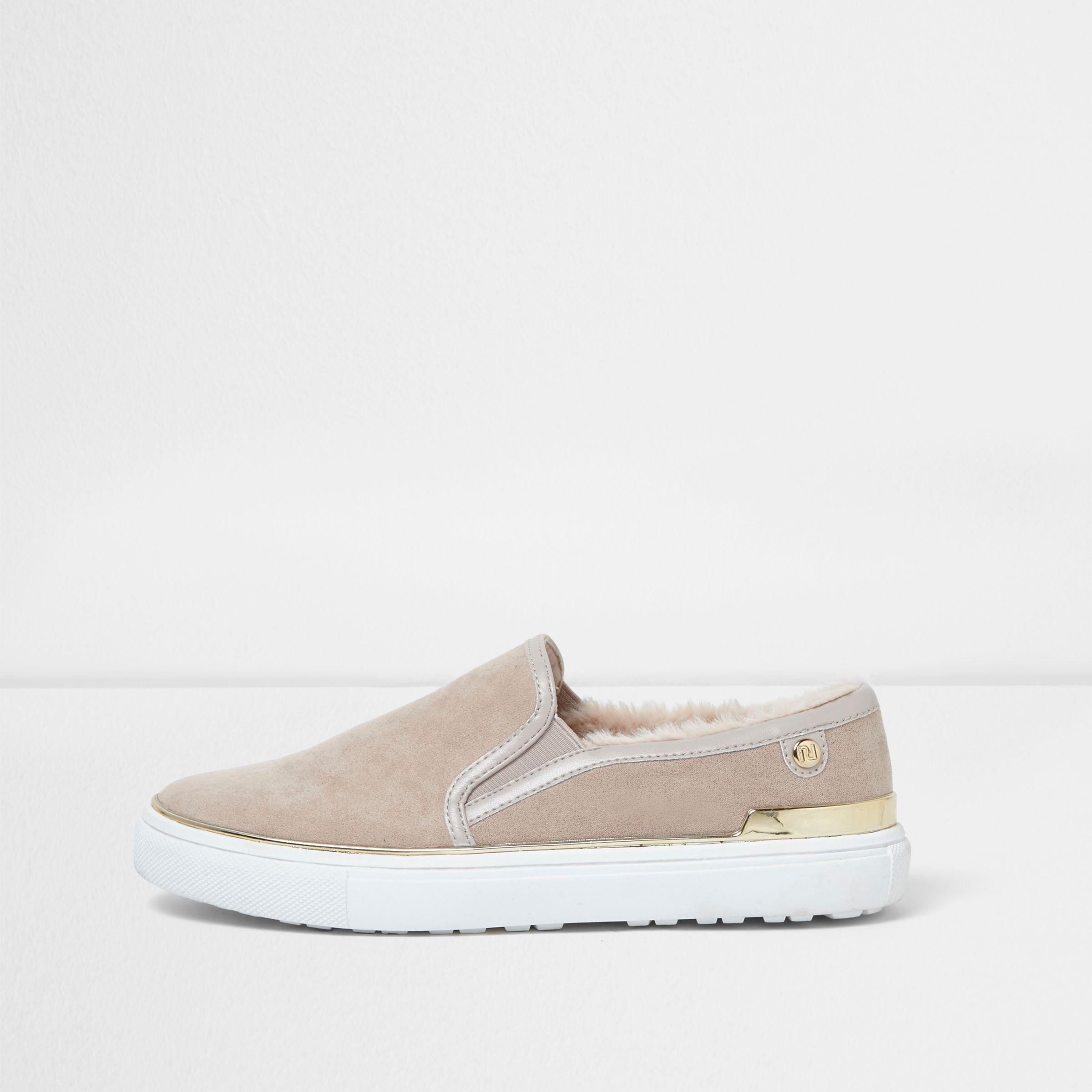 River Island Womens faux fur lined slip on plimsolls tvhhLZ