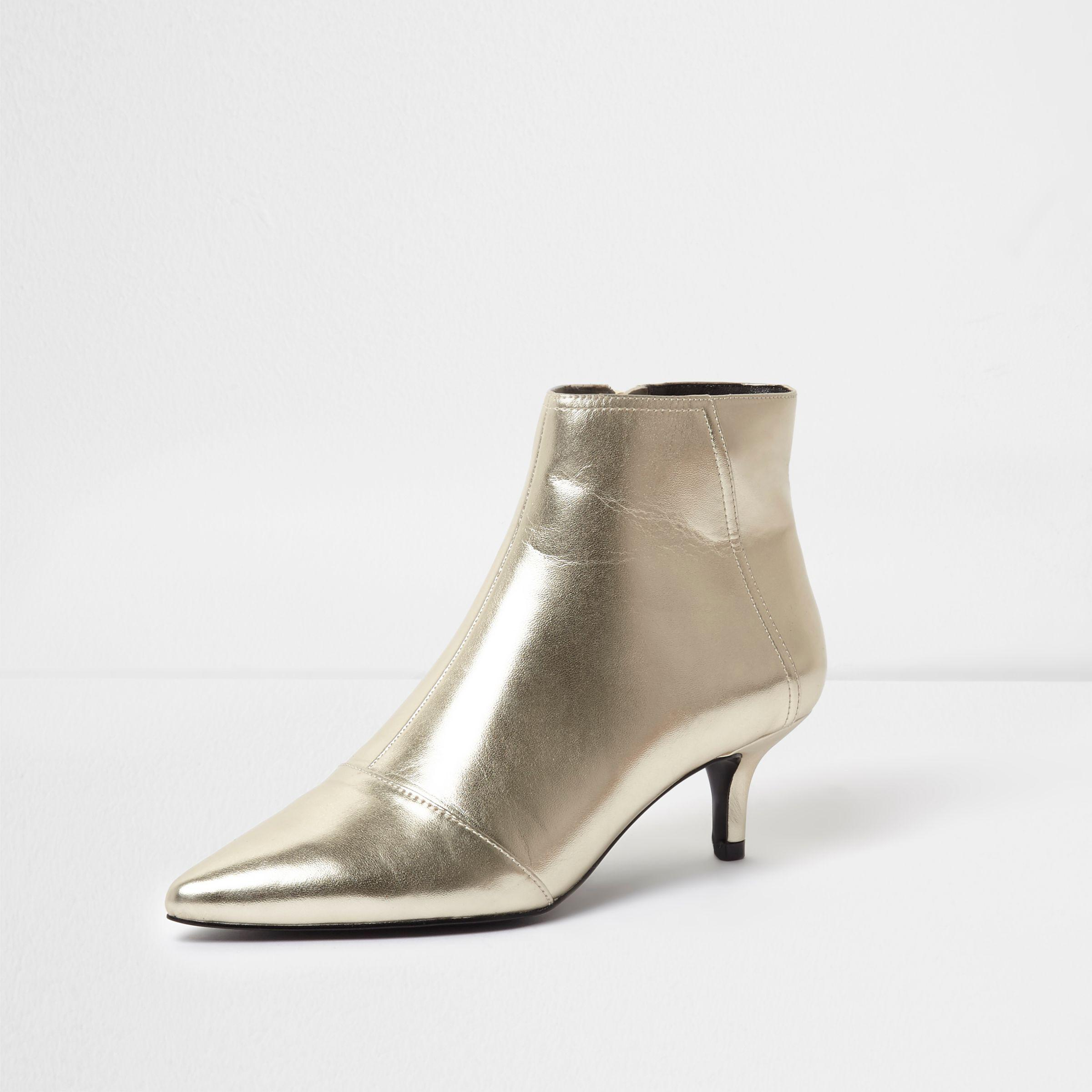 a8d33a7548 River Island Gold Metallic Pointed Kitten Heel Ankle Boots in ...