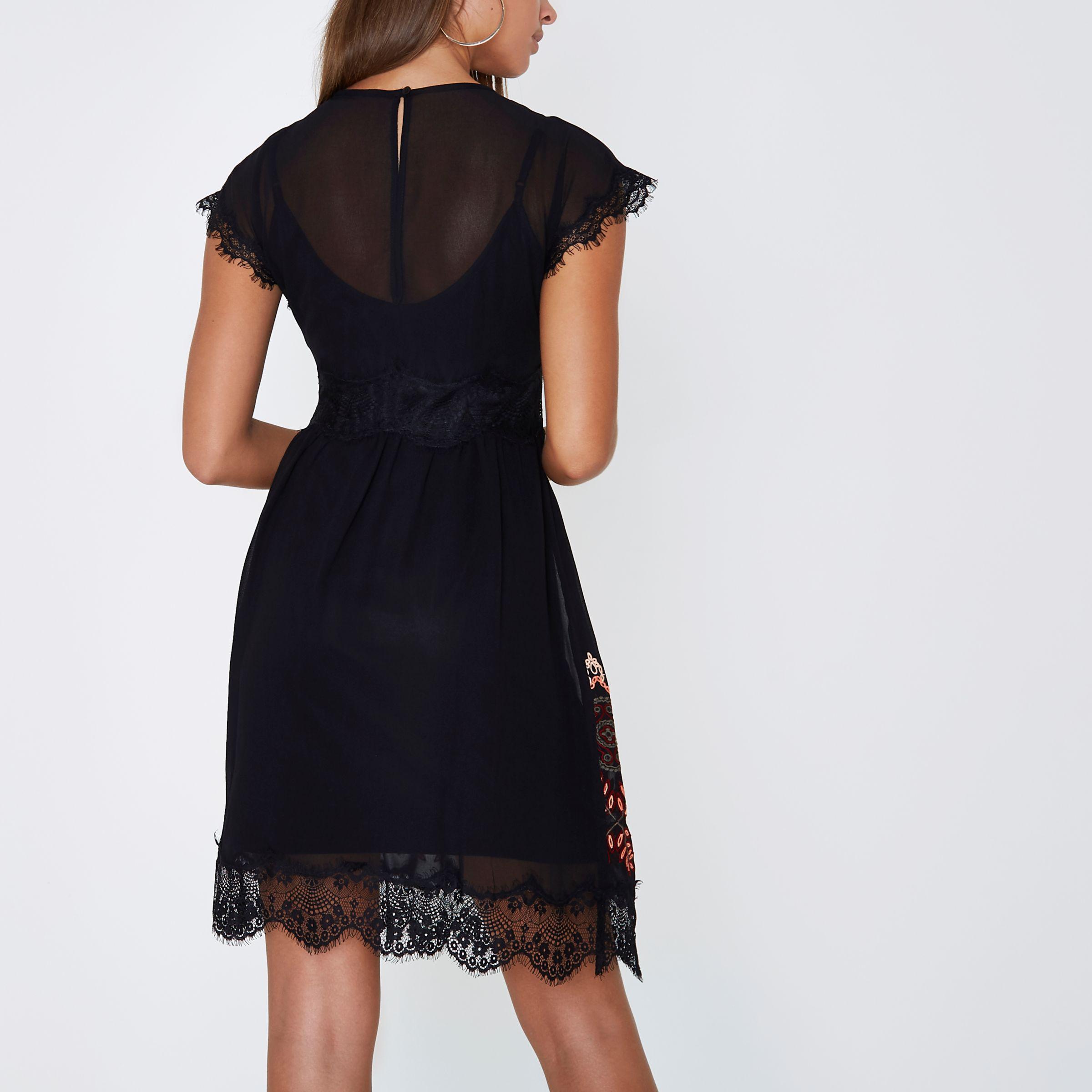 1bf64b9dba07 Lyst - River Island Black Embroidered Eyelash Lace Swing Dress in Black