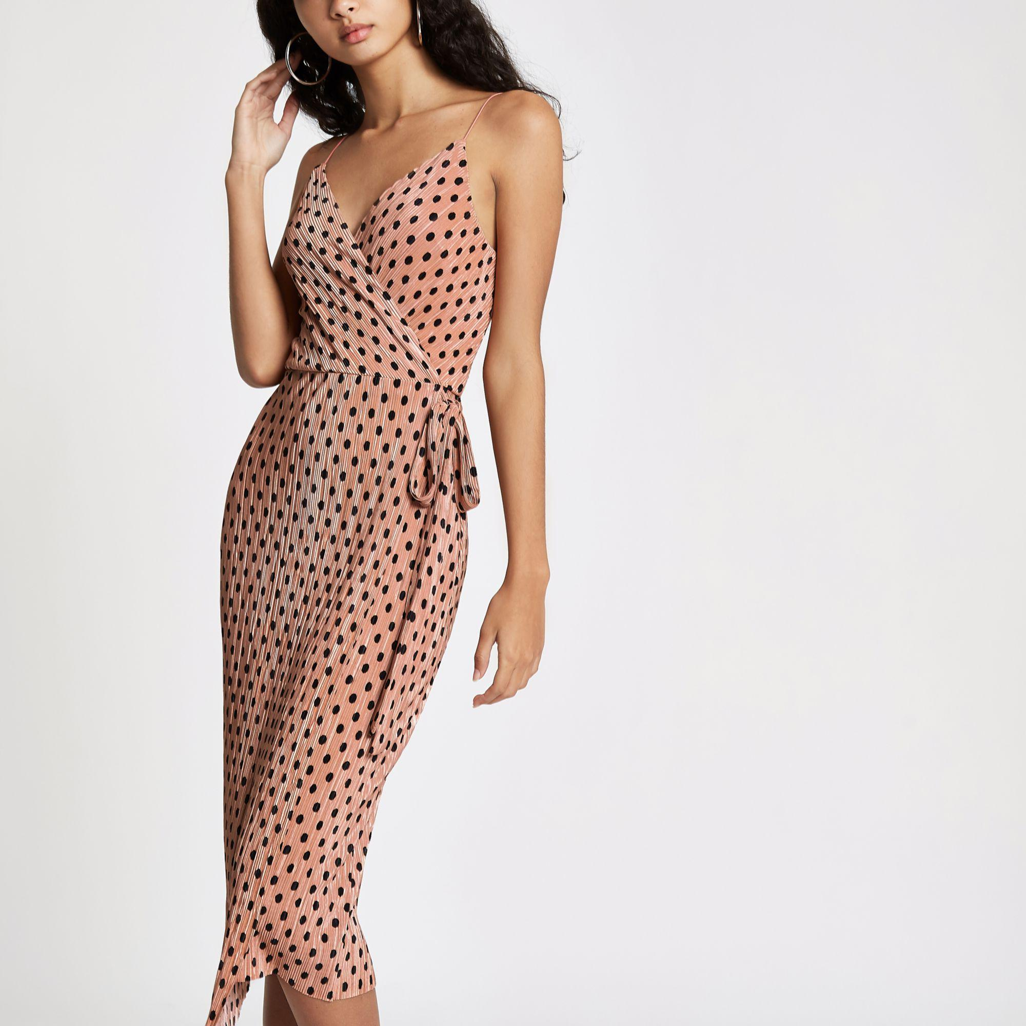 dea44a518779 River Island Pink Plisse Spot Wrap Midi Slip Dress in Pink - Lyst