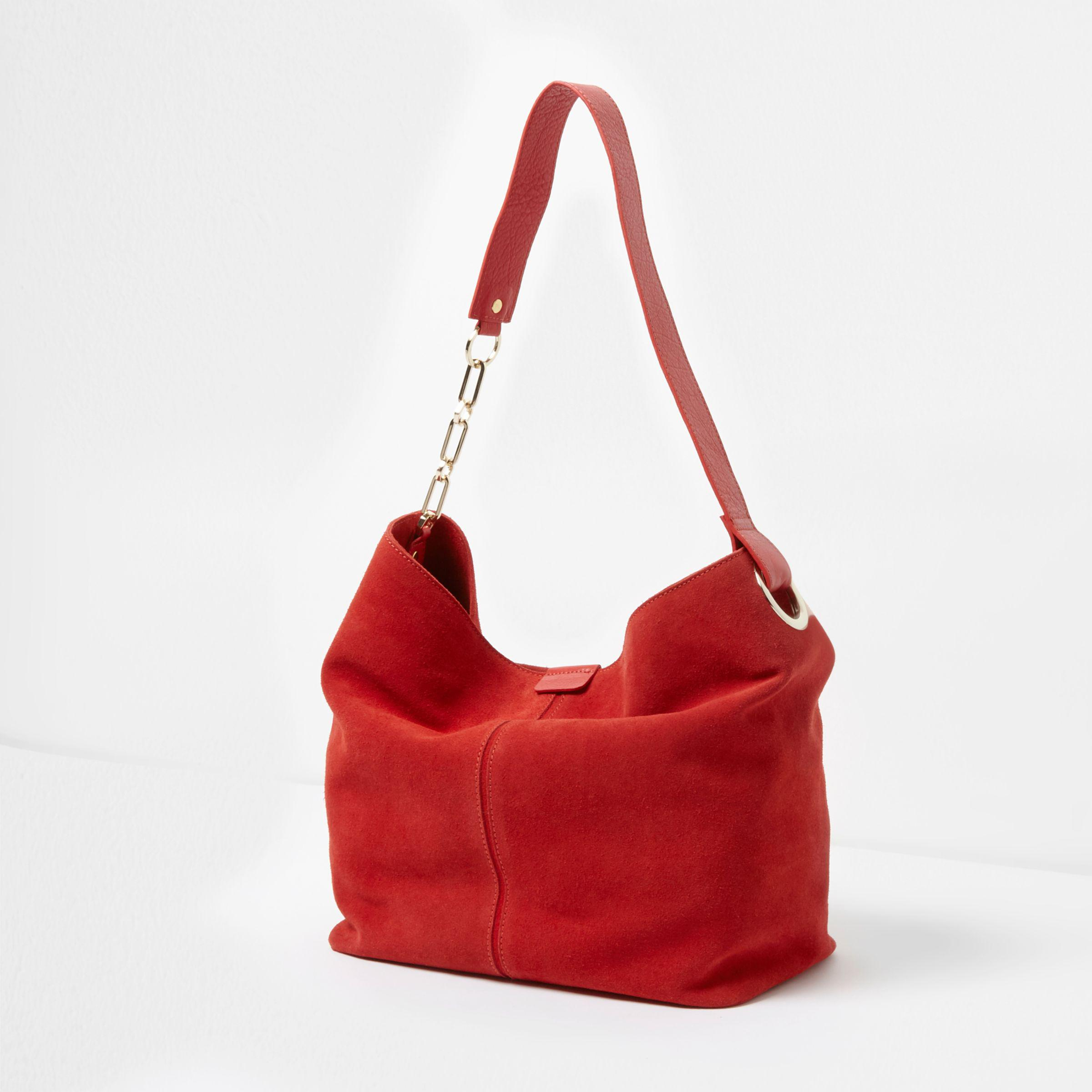 c4a29f9df1cf Lyst - River Island Red Suede Chain Link Handle Slouch Bag in Red