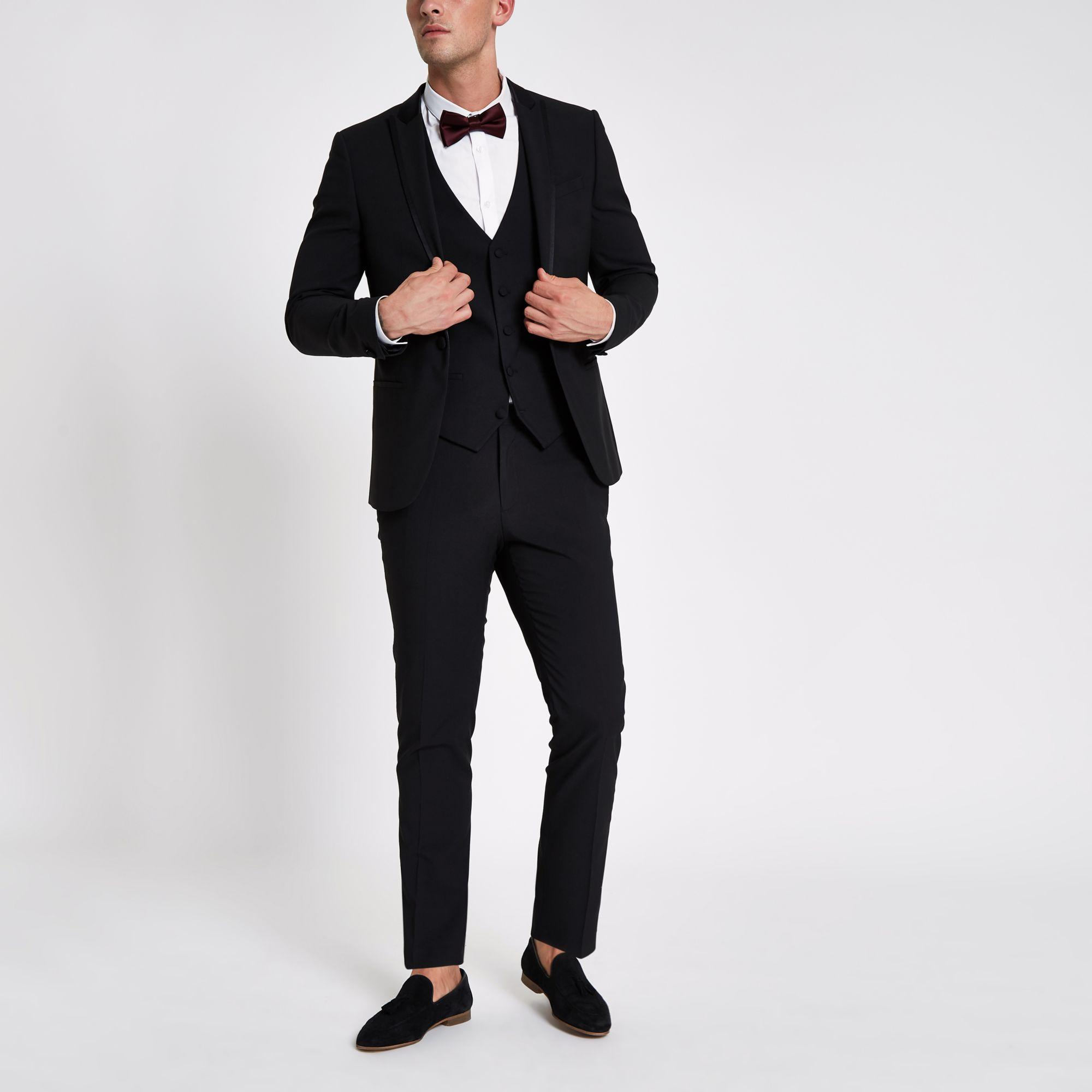 River Island Satin Lapel Skinny Fit Suit Jacket in Black for Men