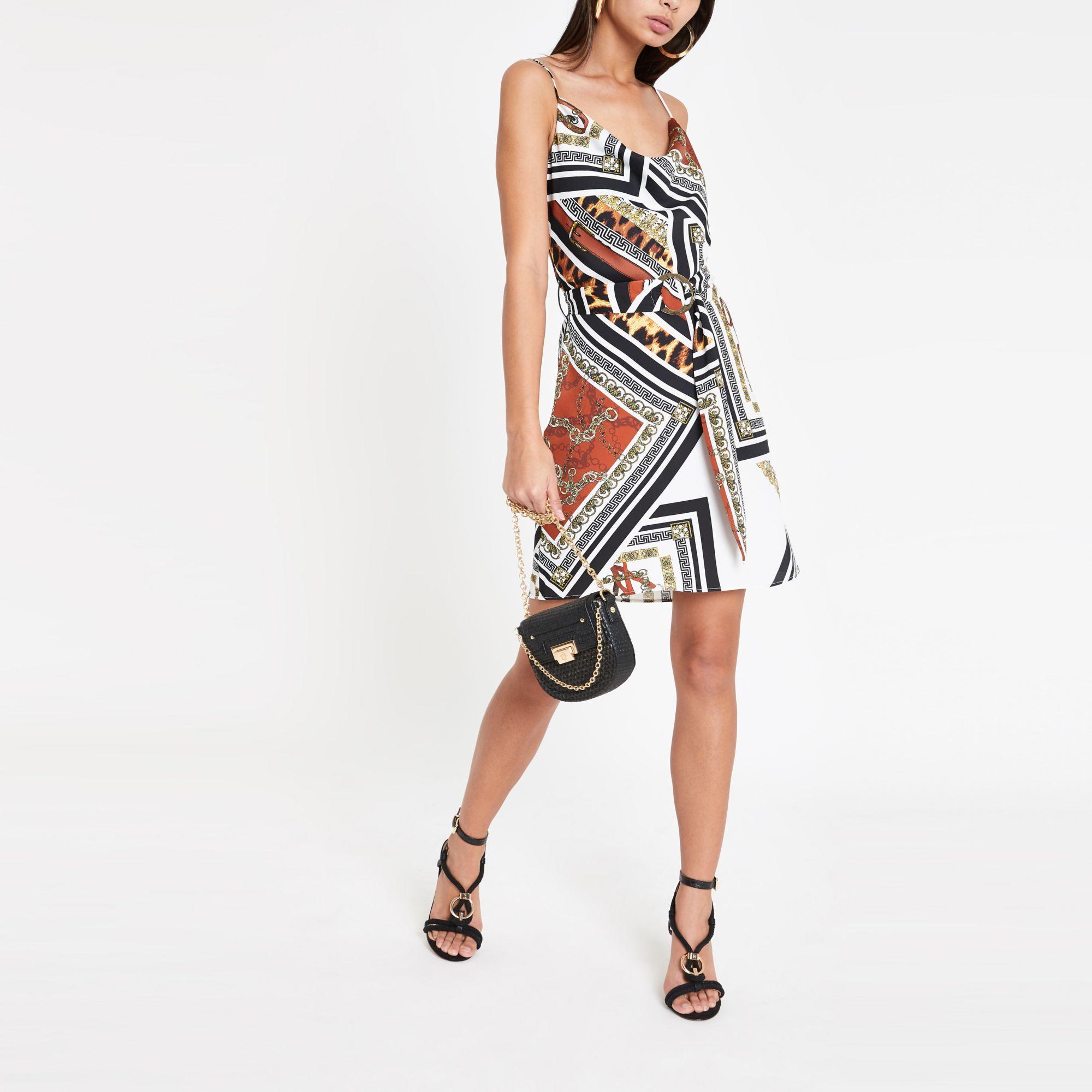 9c5aebc4ed Women's Brown Mixed Print Slip Dress