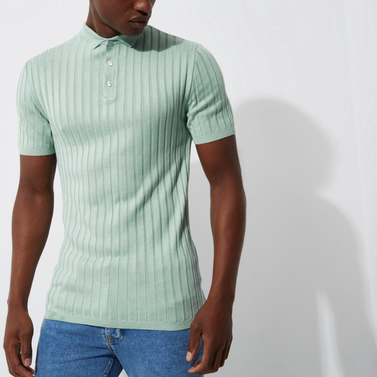 Lyst River Island Light Green Ribbed Muscle Fit Polo Shirt In