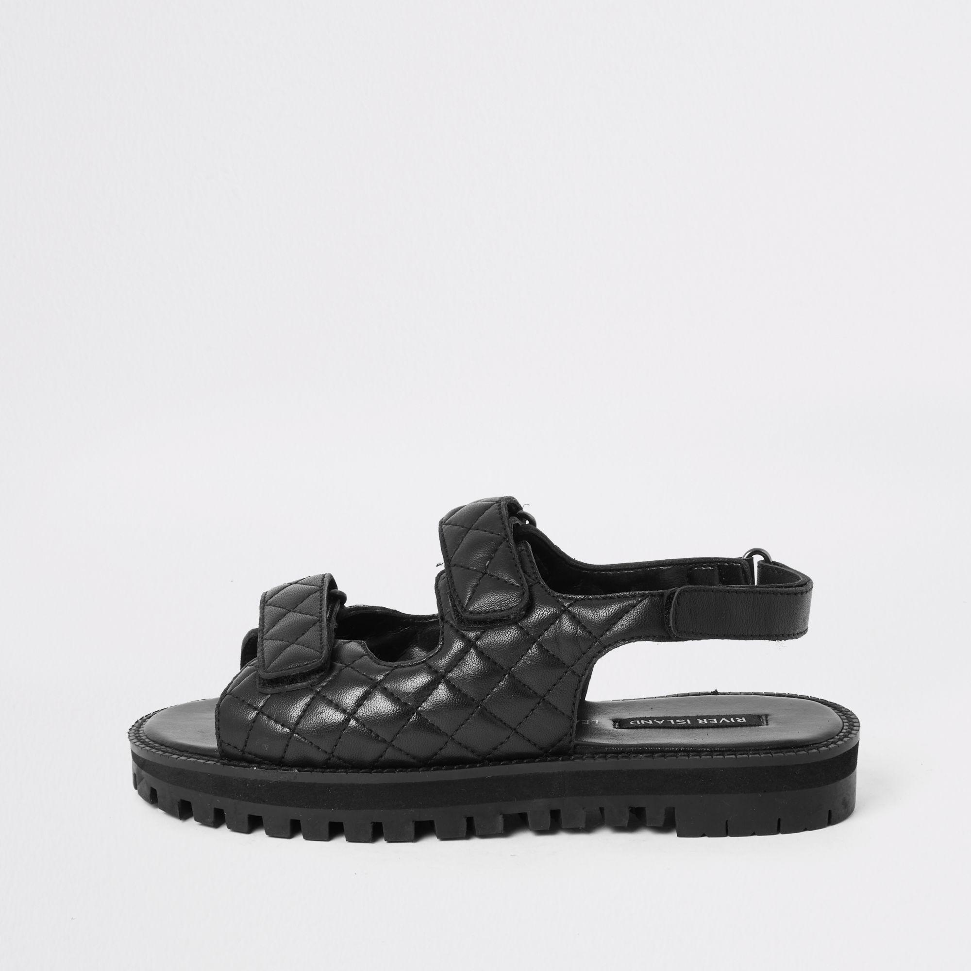 Leather Velcro Cleated Sandals in Black