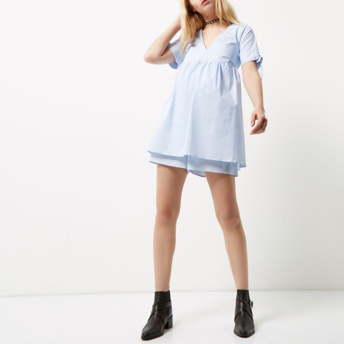 a24c24cac90 Lyst - River Island Blue Stripe Tie Sleeve Babydoll Playsuit in Blue