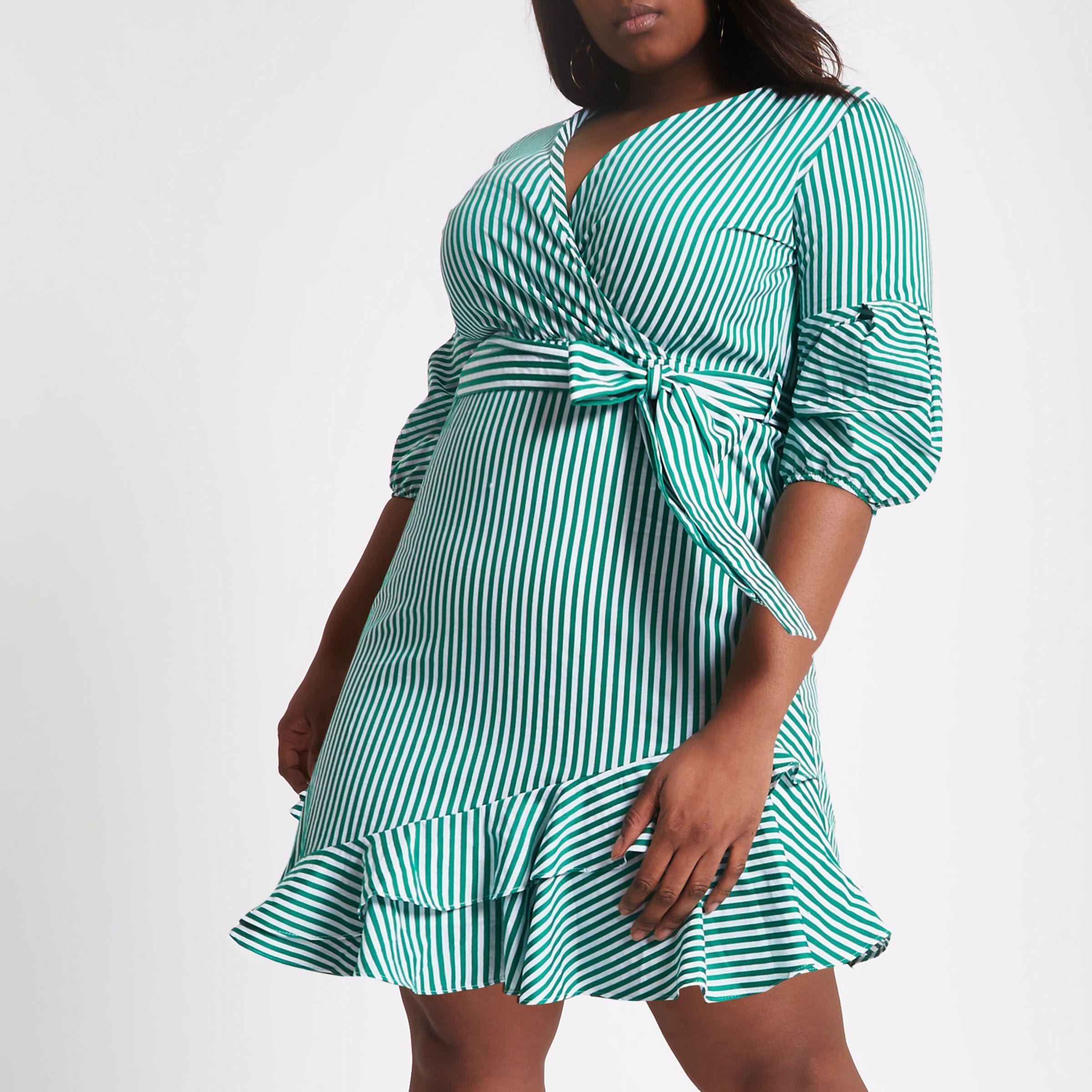 Lyst - River Island Plus Green Stripe Wrap Puff Sleeve Dress in Green 0e7a1f4e7efb7