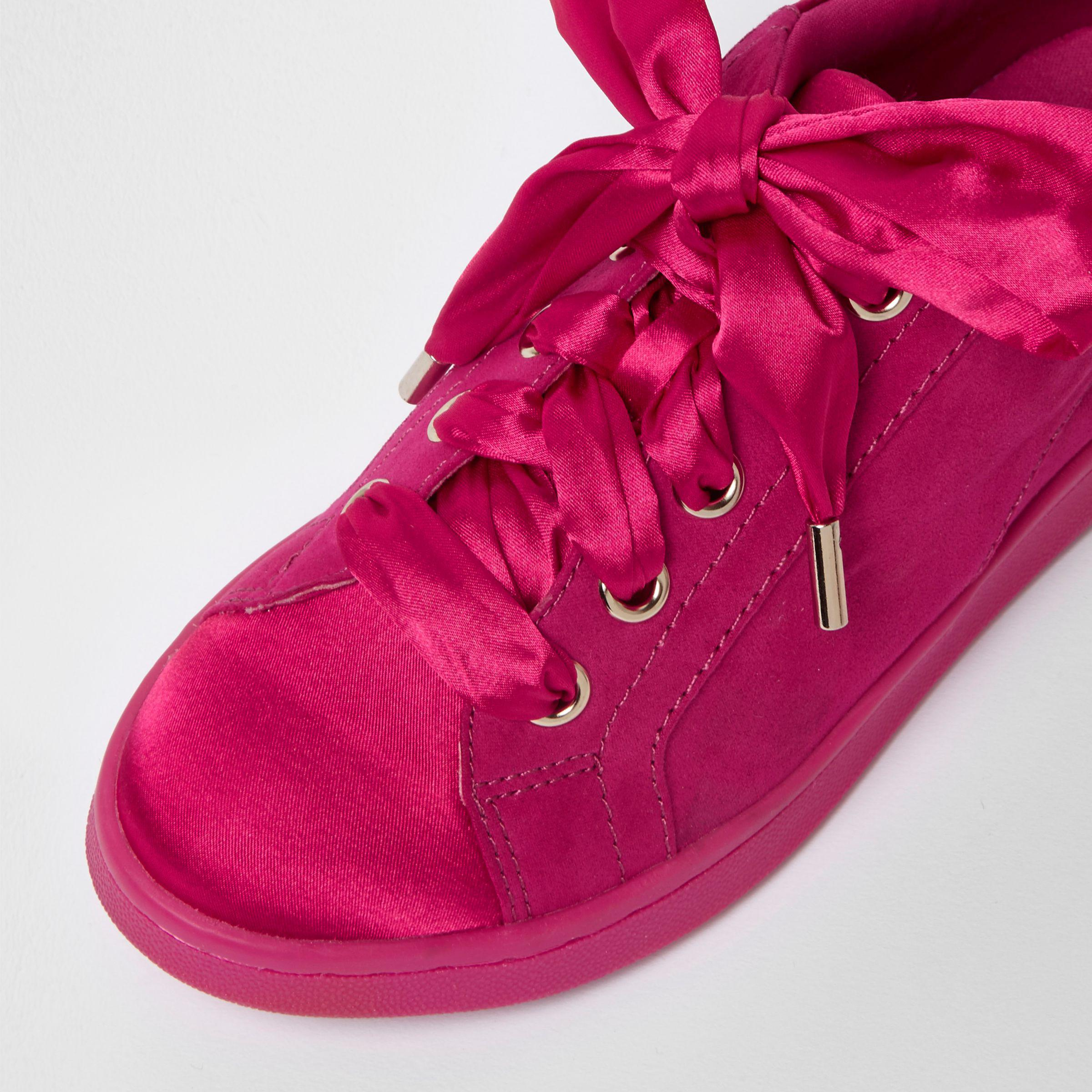 River Island Satin Bright Pink Ribbon Lace-up Trainers