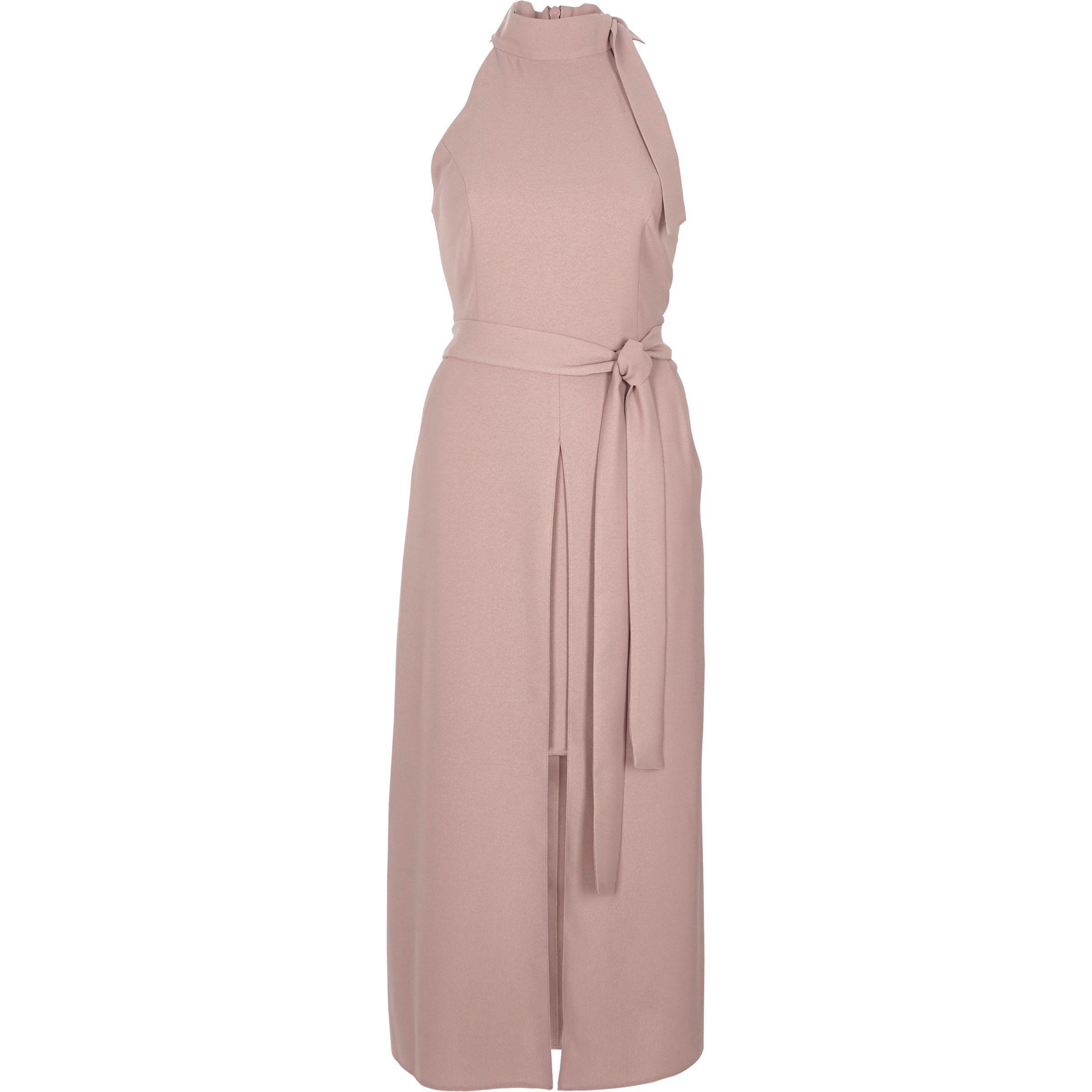 b2698355e2 River Island Pink Tie Neck Sleeveless Midi Dress in Pink - Lyst