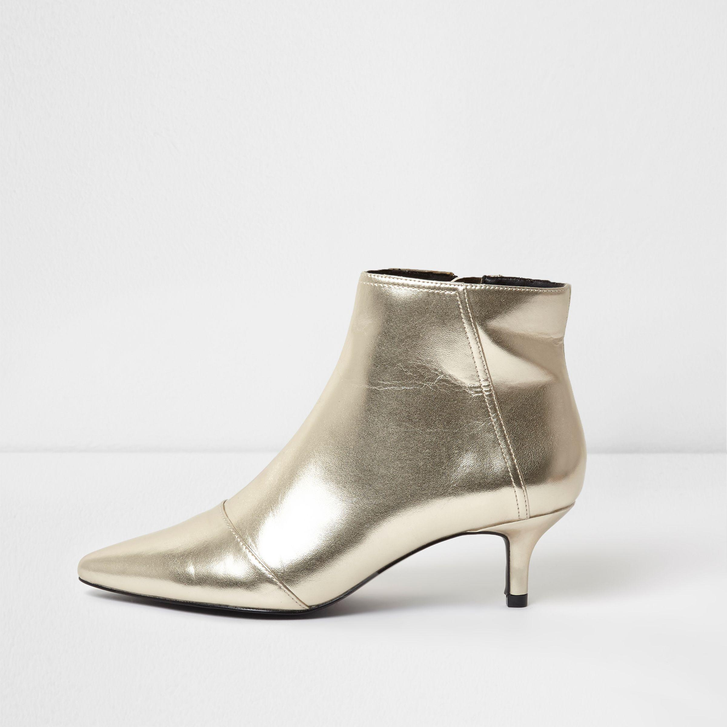 19ae6d505d7 Women's Yellow Gold Metallic Pointed Kitten Heel Ankle Boots