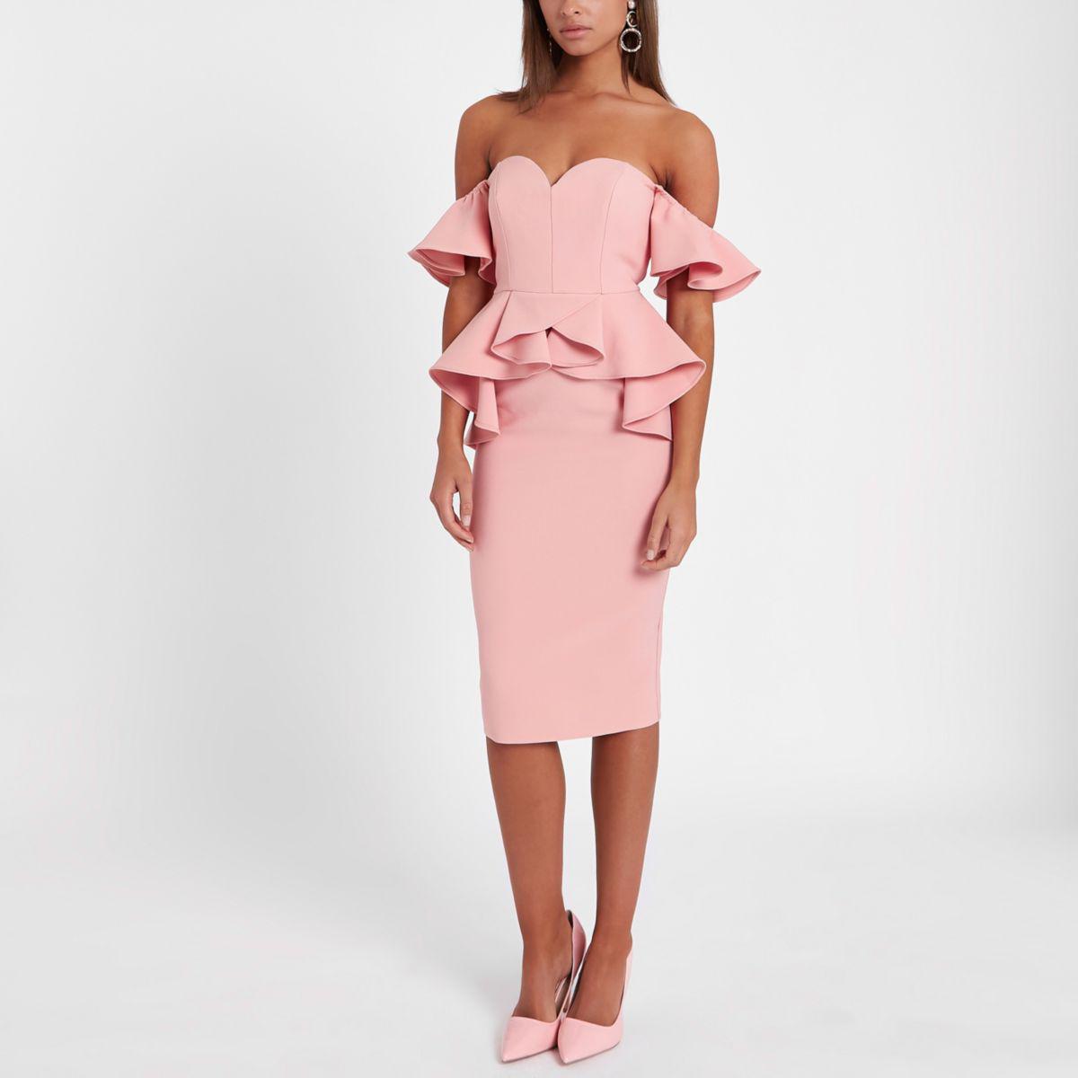 Womens Pink flocked spot embellished dress River Island cy6R3b6m46