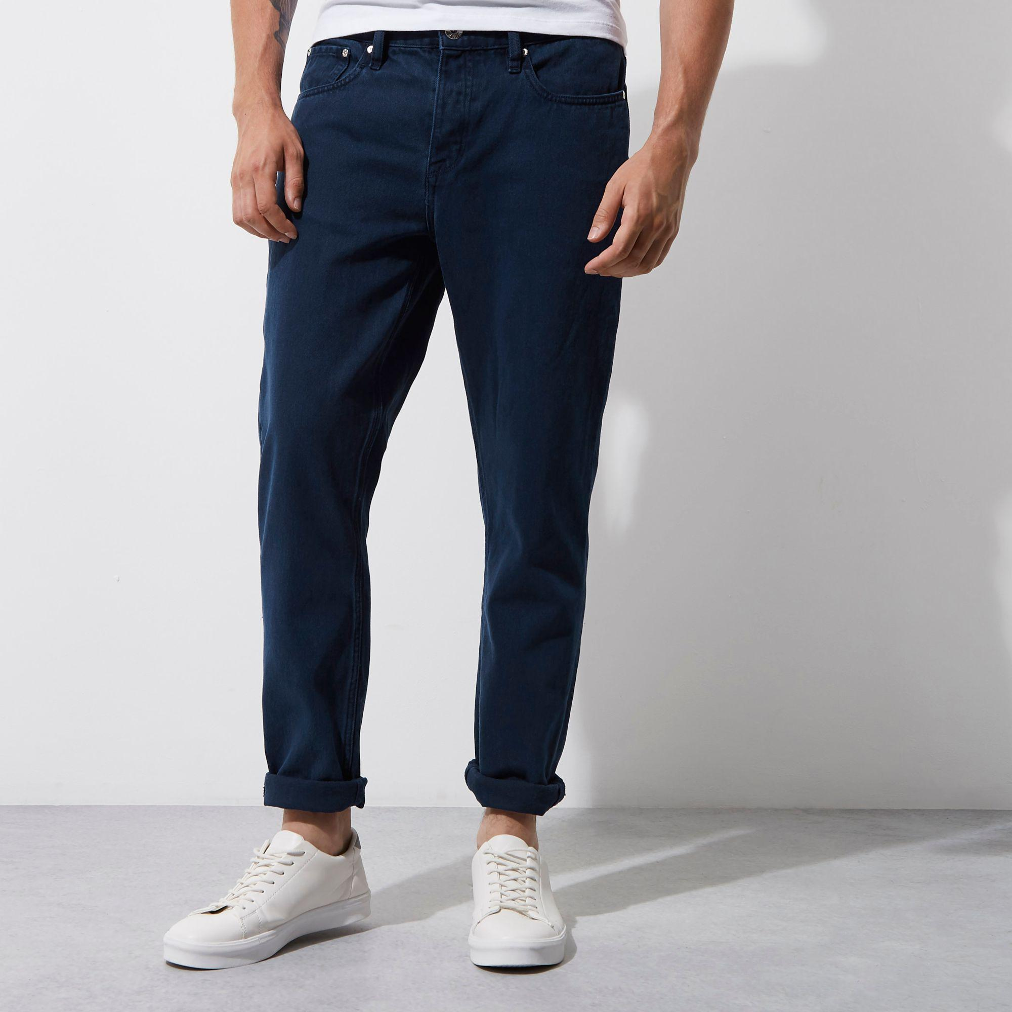 River Island Denim Jimmy Slim Tapered Jeans in Blue for Men